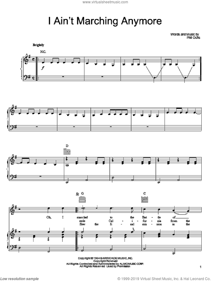 I Ain't Marching Anymore sheet music for voice, piano or guitar by Phil Ochs, intermediate skill level