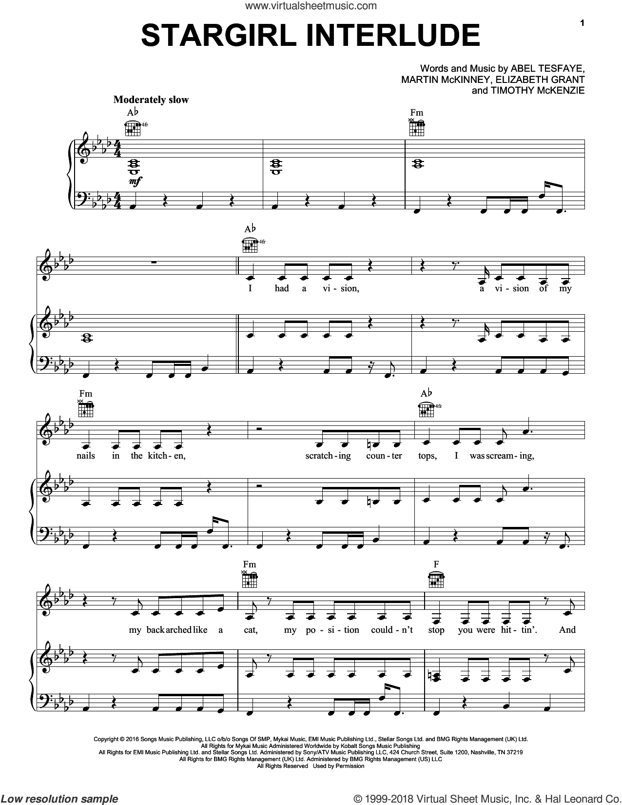 Stargirl Interlude sheet music for voice, piano or guitar by The Weeknd, Abel Tesfaye, Elizabeth Grant, Martin McKinney and Timothy McKenzie, intermediate skill level