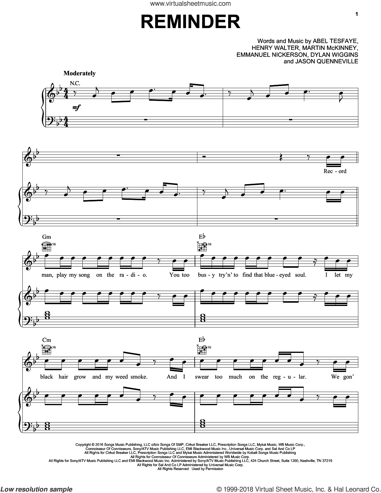 Reminder sheet music for voice, piano or guitar by The Weeknd, Abel Tesfaye, Dylan Wiggins, Emmanuel Nickerson, Henry Walter, Jason Quenneville and Martin McKinney, intermediate skill level
