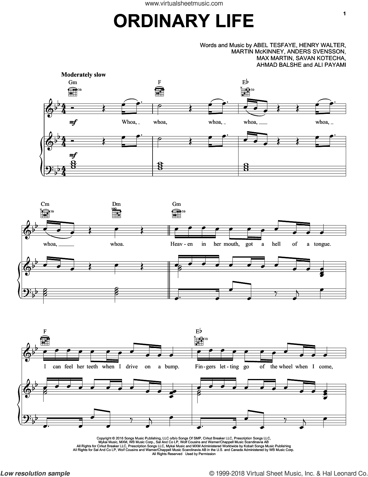 Ordinary Life sheet music for voice, piano or guitar by The Weeknd, Ali Payami, Henry Walter, Max Martin and Savan Kotecha. Score Image Preview.