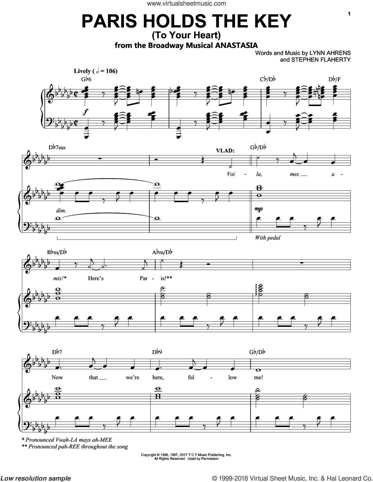 Paris Holds The Key (To Your Heart) sheet music for voice and piano by Stephen Flaherty and Lynn Ahrens, intermediate skill level