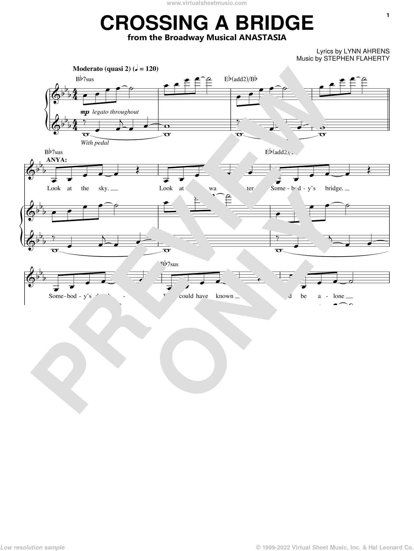 Crossing A Bridge sheet music for voice and piano by Stephen Flaherty and Lynn Ahrens, intermediate skill level