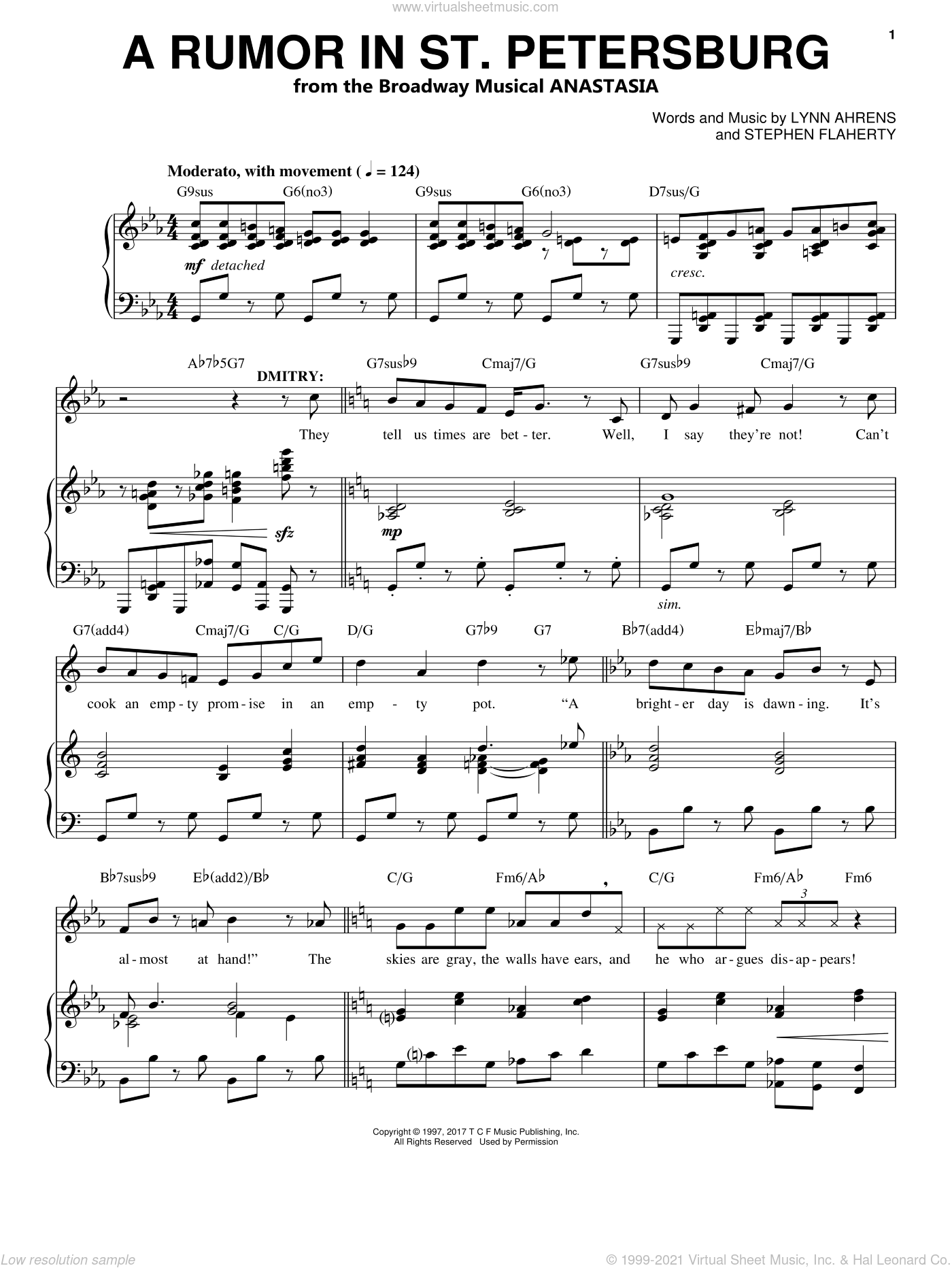 A Rumor In St. Petersburg sheet music for voice and piano by Stephen Flaherty and Lynn Ahrens, intermediate. Score Image Preview.