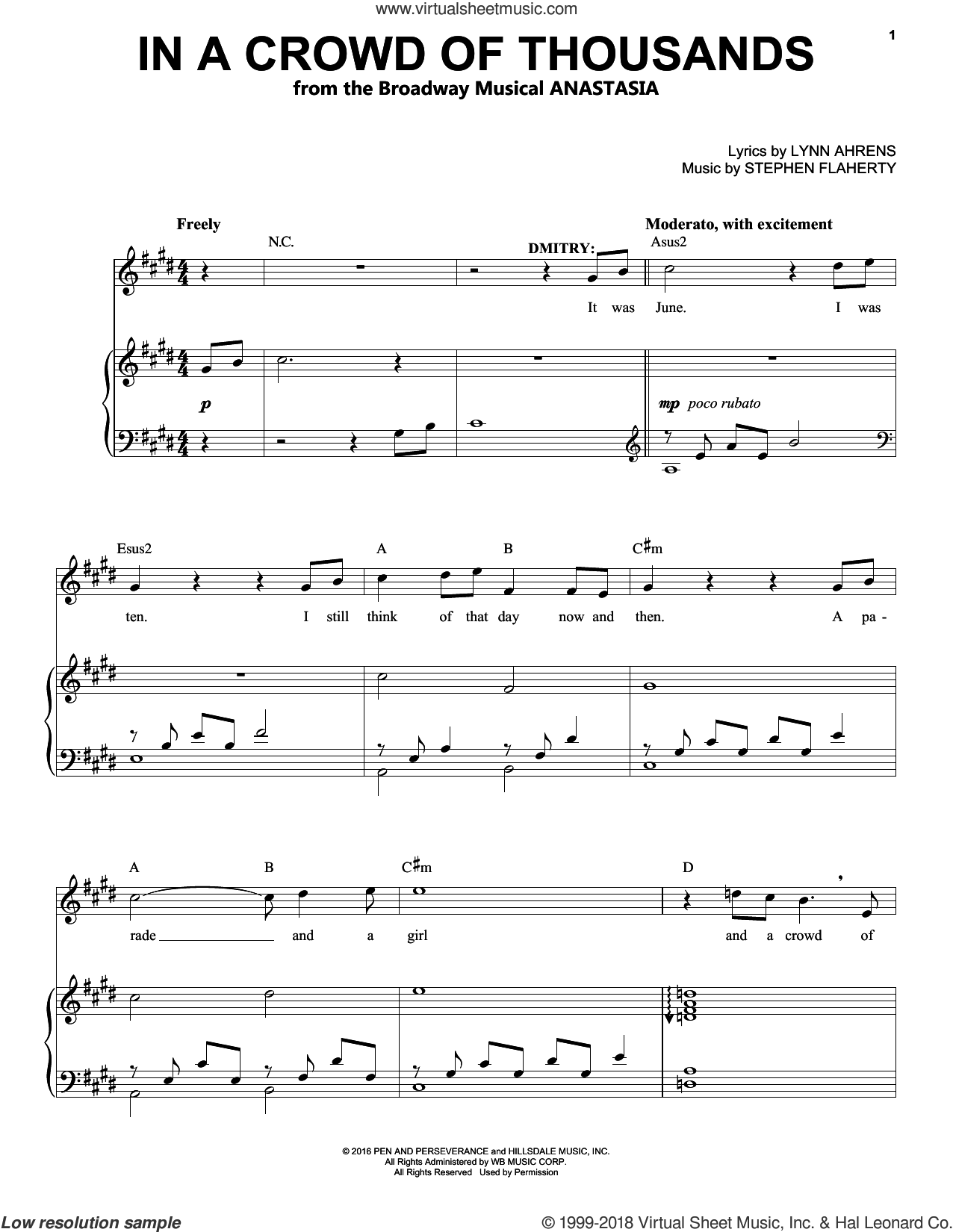 In A Crowd Of Thousands sheet music for voice and piano by Stephen Flaherty and Lynn Ahrens, intermediate skill level