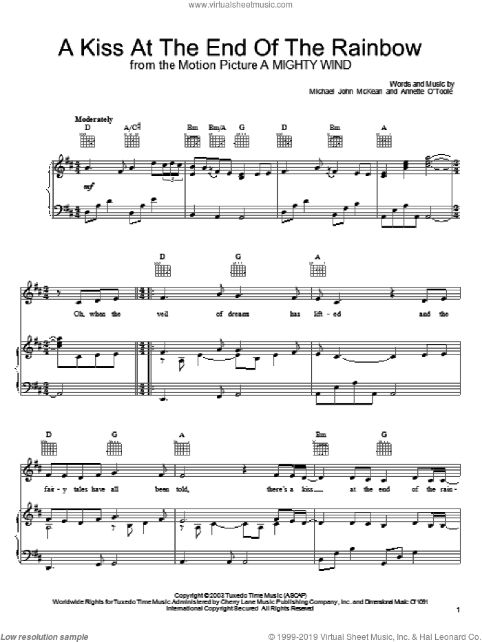 A Kiss At The End Of The Rainbow sheet music for voice, piano or guitar by Mitch & Mickey, intermediate voice, piano or guitar. Score Image Preview.