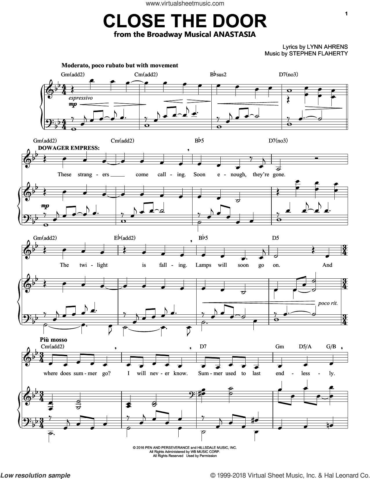 Close The Door sheet music for voice and piano by Stephen Flaherty and Lynn Ahrens, intermediate skill level