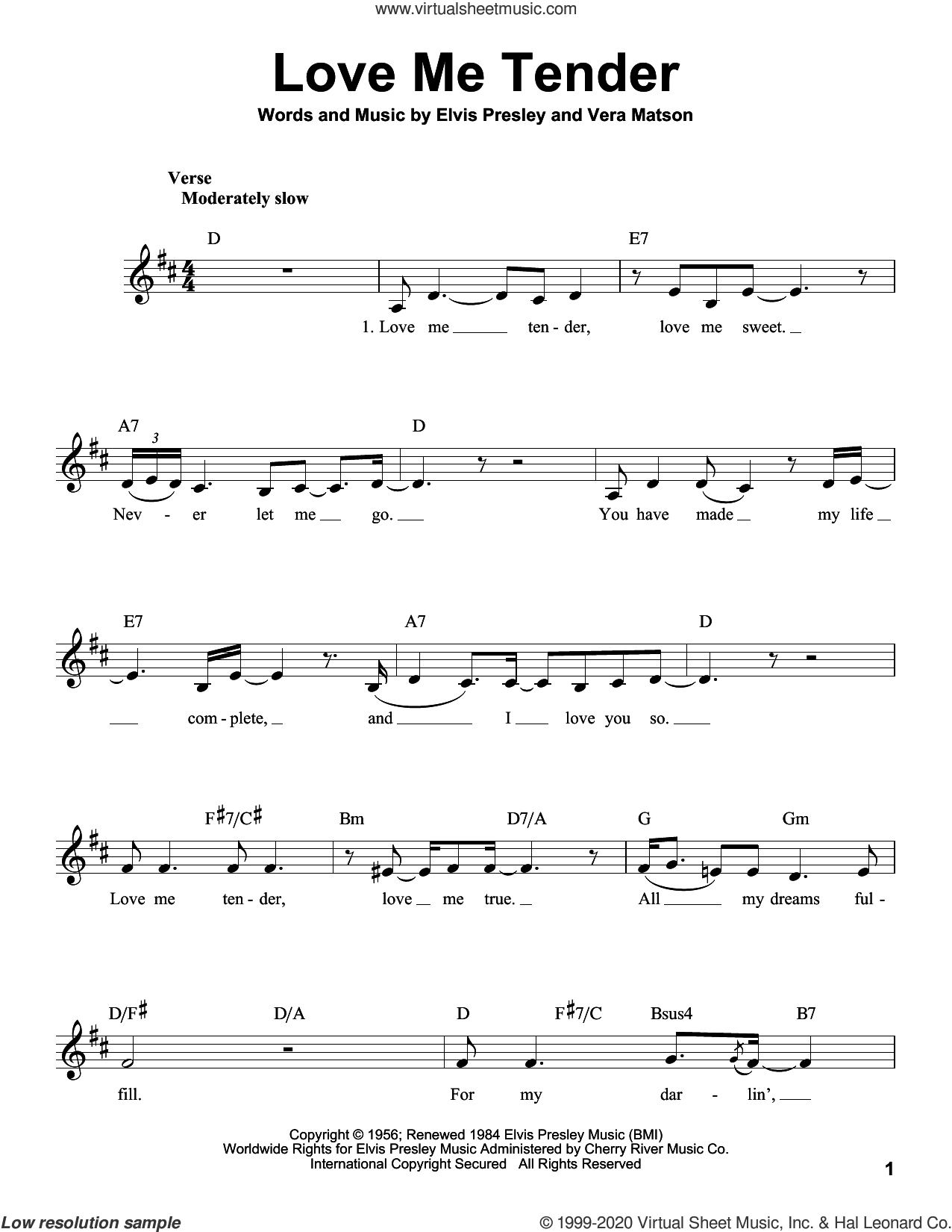 Love Me Tender sheet music for voice solo by Elvis Presley and Vera Matson, intermediate skill level