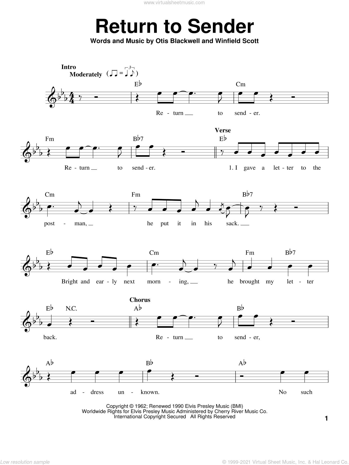 Return To Sender sheet music for voice solo by Elvis Presley, Otis Blackwell and Winfield Scott, intermediate skill level