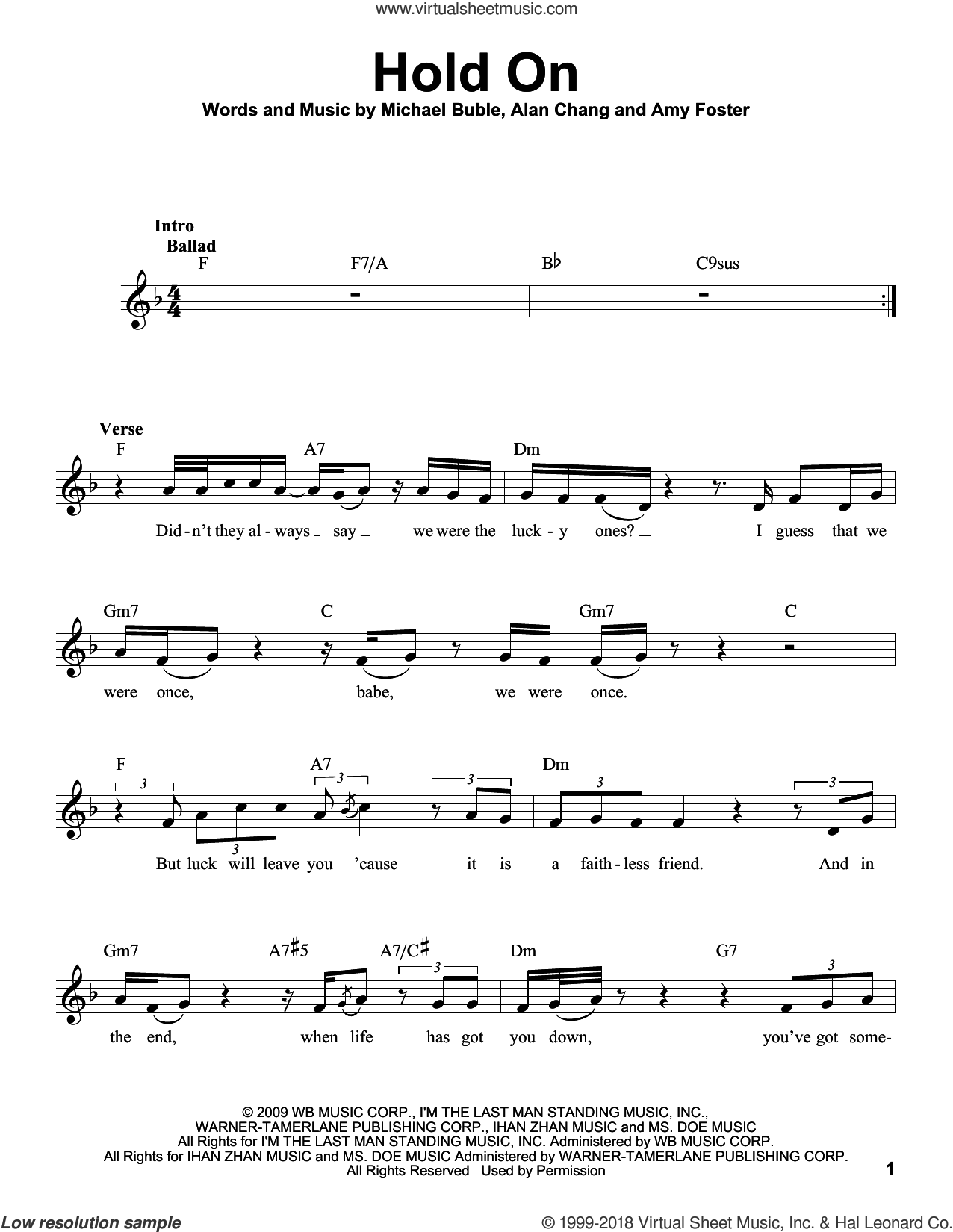Hold On sheet music for voice solo by Michael Buble, Alan Chang and Amy Foster, intermediate skill level