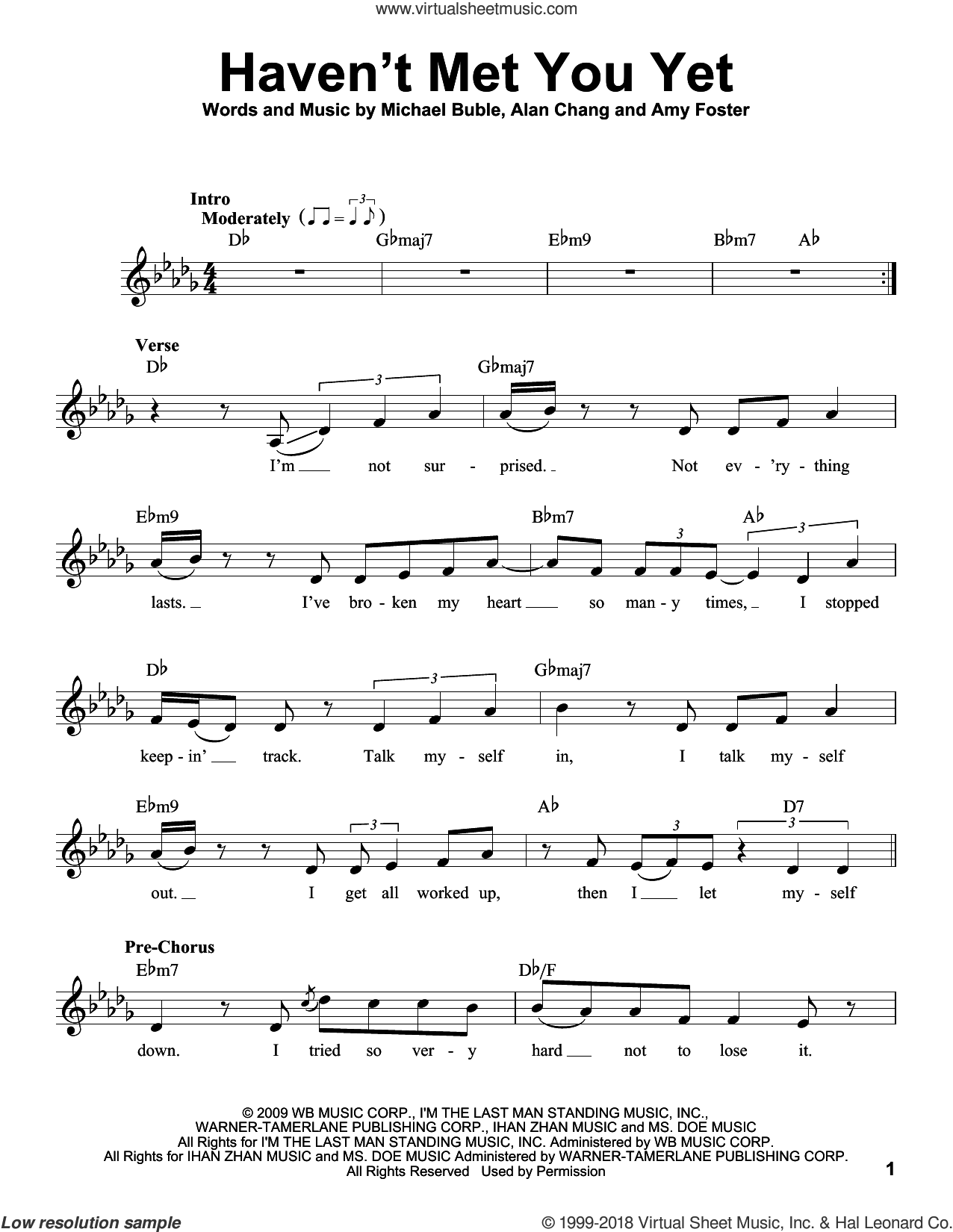 Haven't Met You Yet sheet music for voice solo by Michael Buble, Alan Chang and Amy Foster, intermediate skill level
