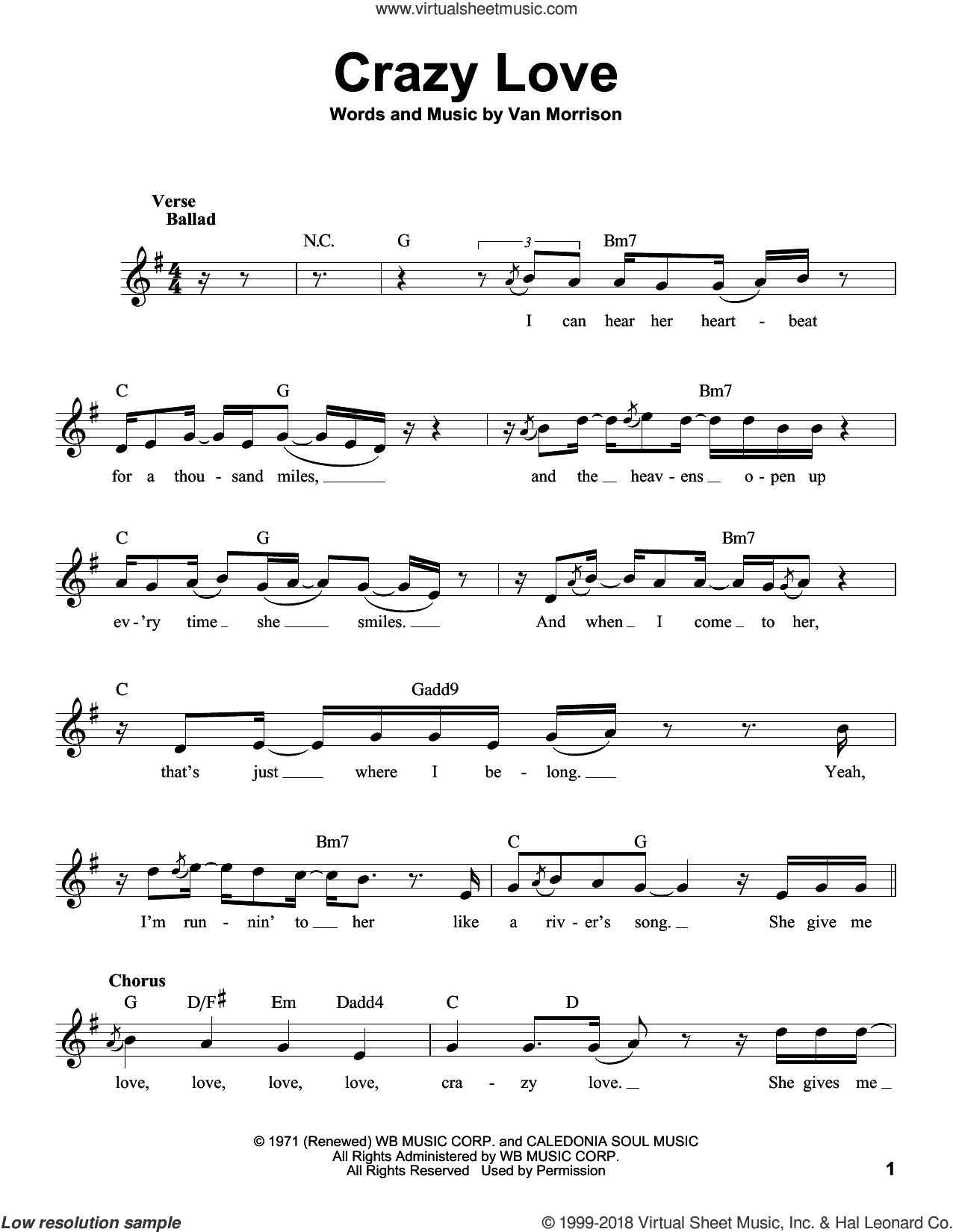 Crazy Love sheet music for voice solo by Van Morrison and Michael Buble, intermediate skill level