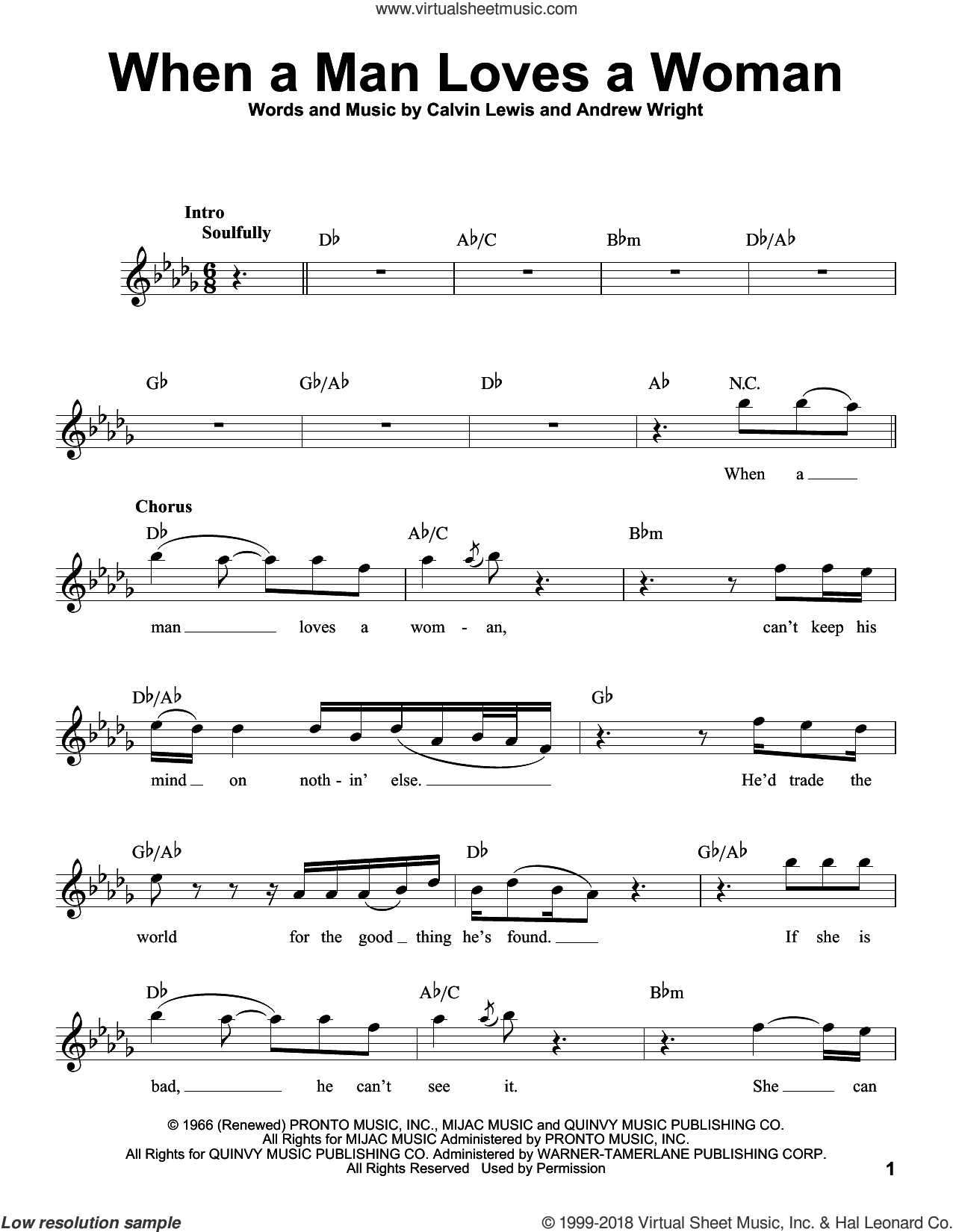When A Man Loves A Woman sheet music for voice solo by Percy Sledge, Andrew Wright and Calvin Lewis, intermediate skill level