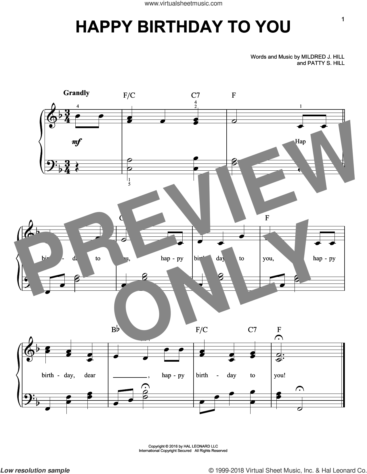 Happy Birthday To You sheet music for piano solo by Mildred J. Hill and Patty Smith Hill, beginner. Score Image Preview.