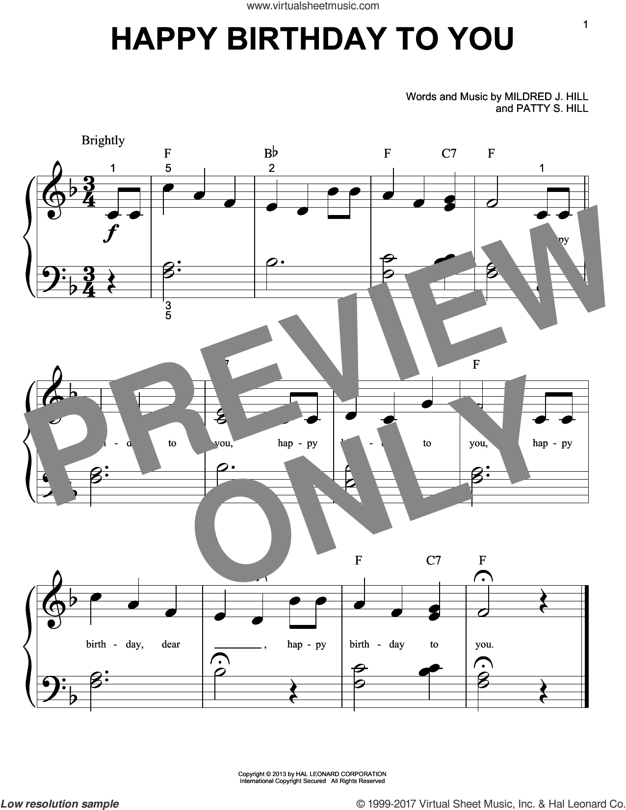 Happy Birthday To You sheet music for piano solo (big note book) by Mildred J. Hill and Patty Smith Hill, easy piano (big note book)