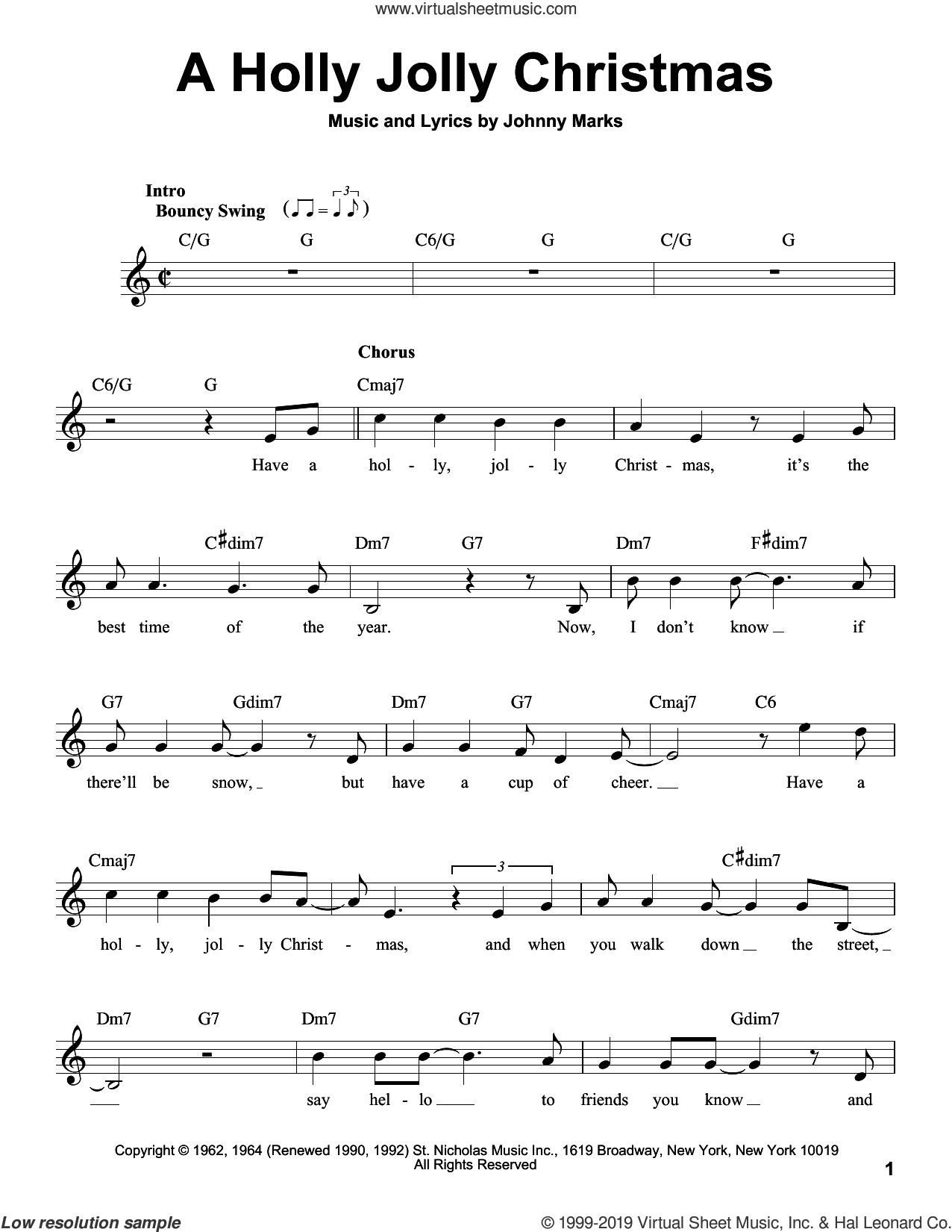 A Holly Jolly Christmas sheet music for voice solo by Michael Buble and Johnny Marks, intermediate skill level