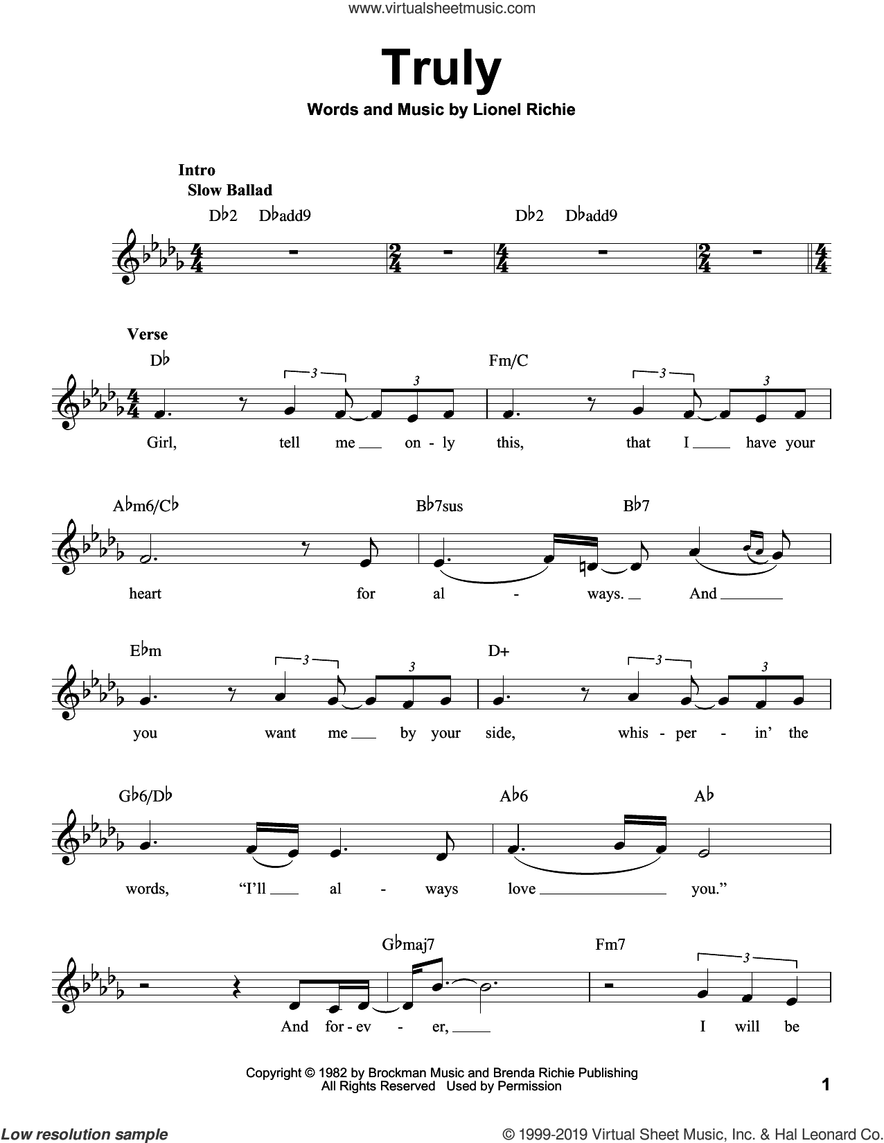 Truly sheet music for voice solo by Lionel Richie, intermediate skill level
