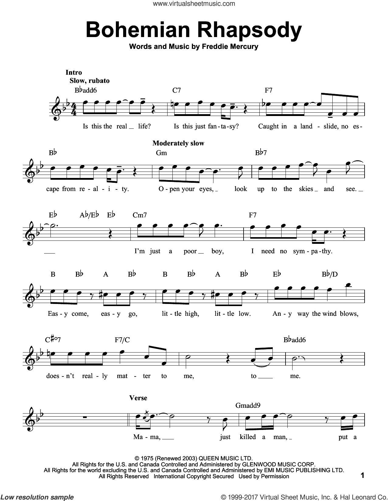 Bohemian Rhapsody sheet music for voice solo by Queen and Freddie Mercury, intermediate skill level