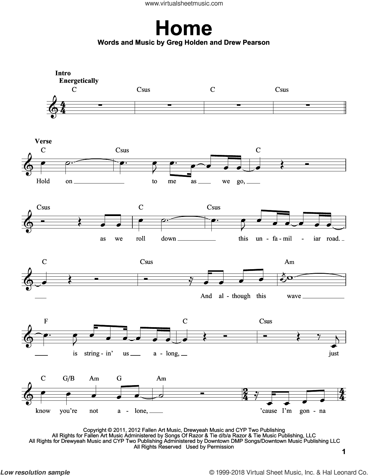 Home sheet music for voice solo by Phillip Phillips, Drew Pearson and Greg Holden, intermediate skill level