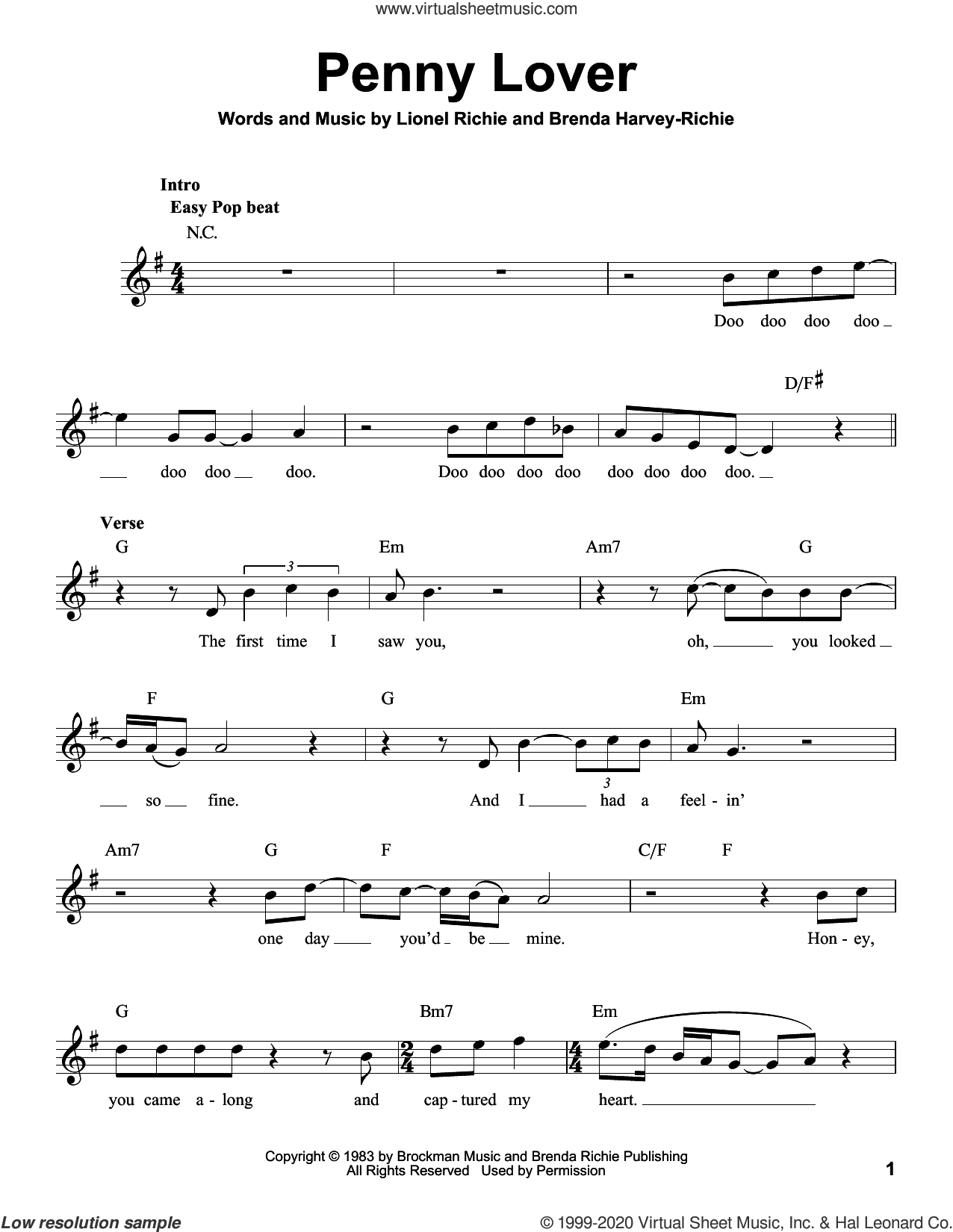 Penny Lover sheet music for voice solo by Lionel Richie and Brenda Harvey-Richie, intermediate skill level