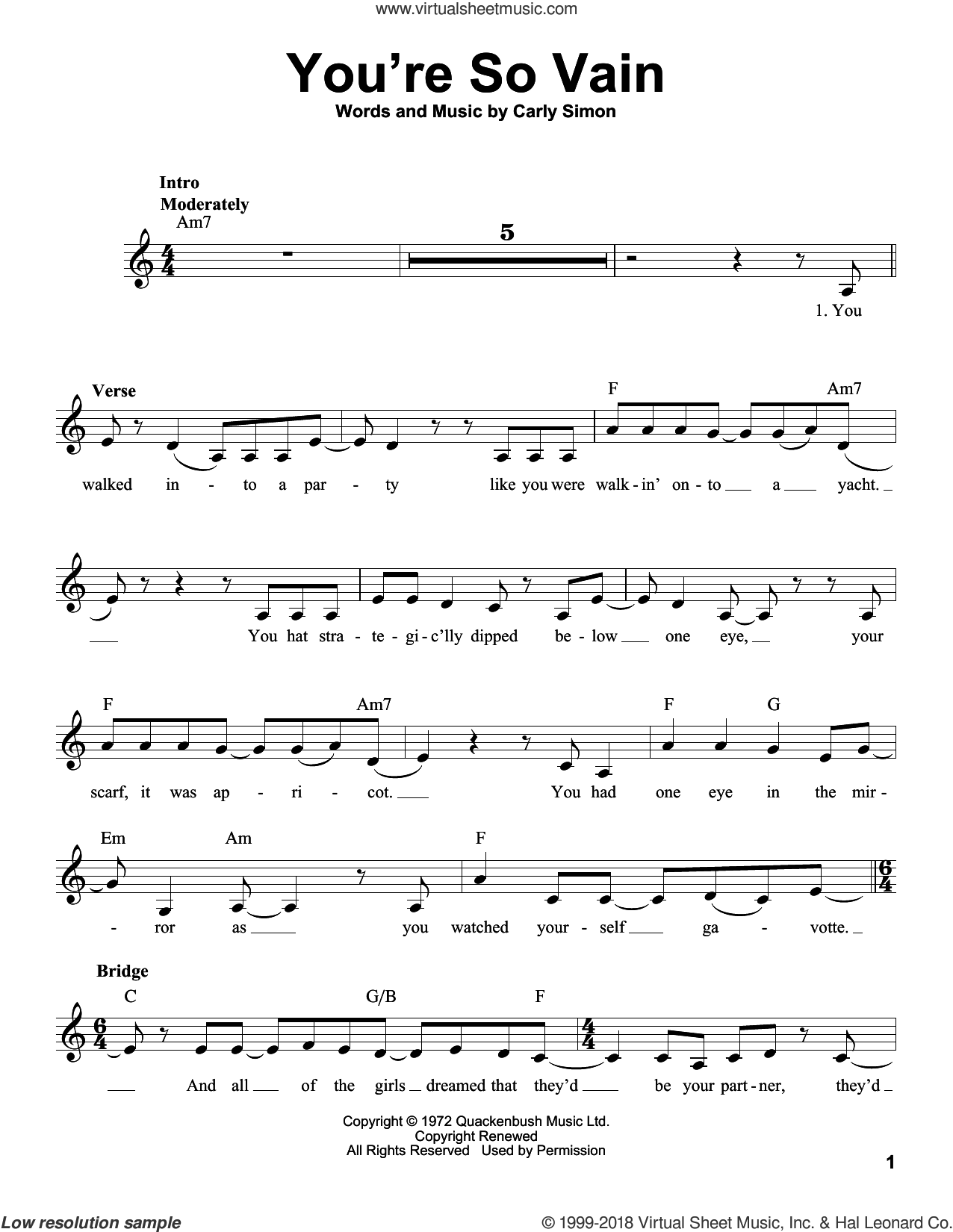 You're So Vain sheet music for voice solo by Carly Simon, intermediate skill level