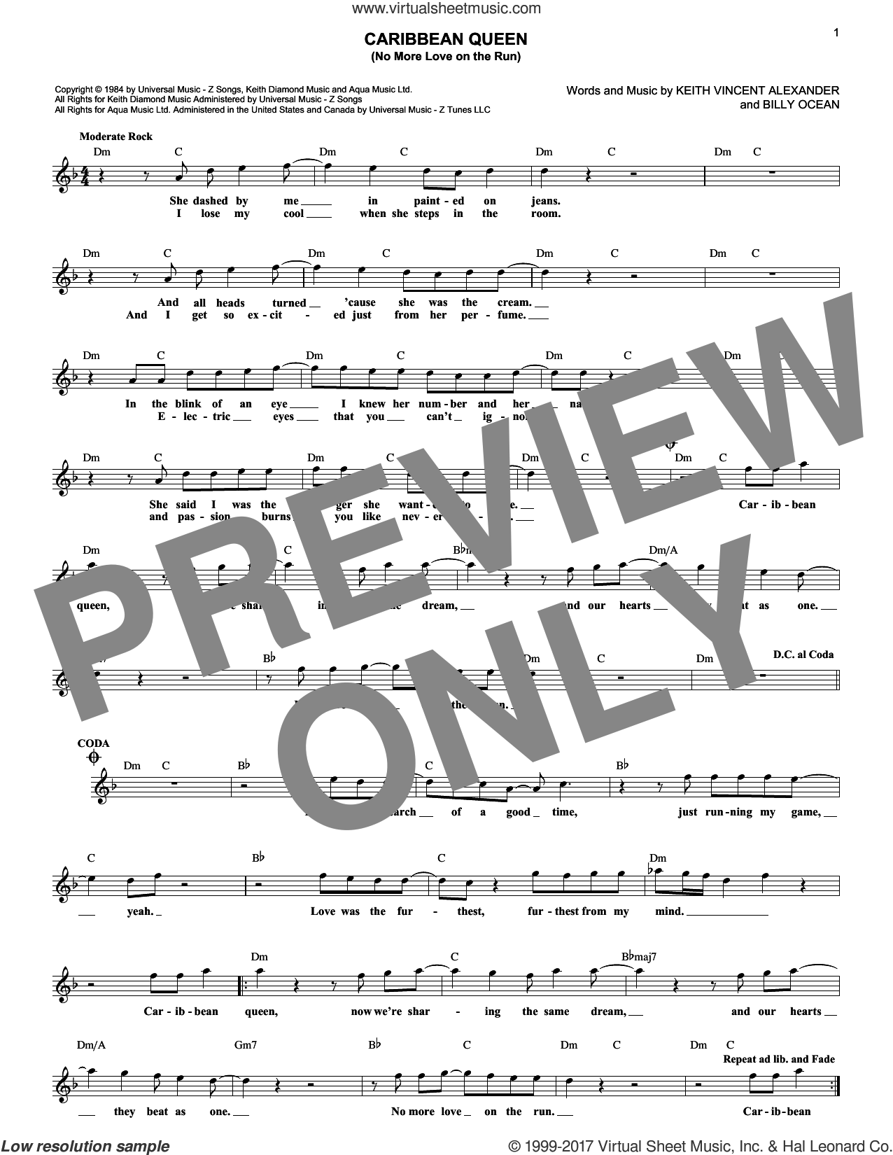 Caribbean Queen (No More Love On The Run) sheet music for voice and other instruments (fake book) by Keith Vincent Alexander and Billy Ocean. Score Image Preview.