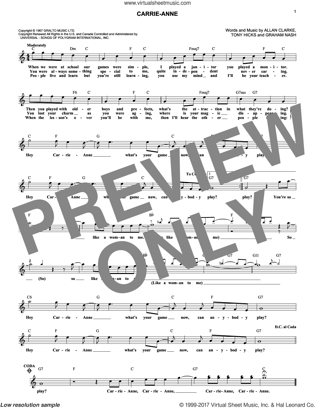 Carrie-Anne sheet music for voice and other instruments (fake book) by The Hollies, Allan Clarke, Graham Nash and Tony Hicks, intermediate skill level