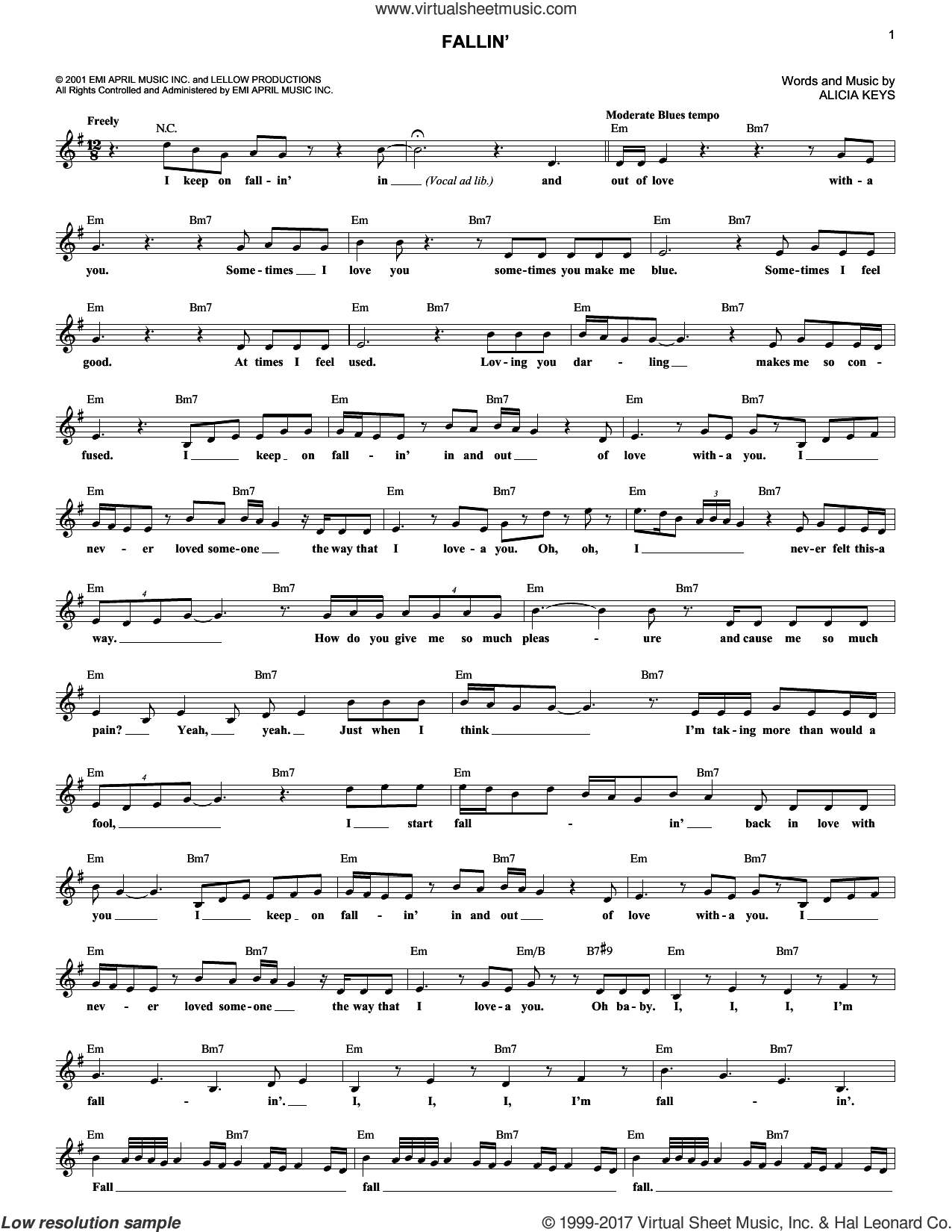 Fallin' sheet music for voice and other instruments (fake book) by Alicia Keys, intermediate skill level