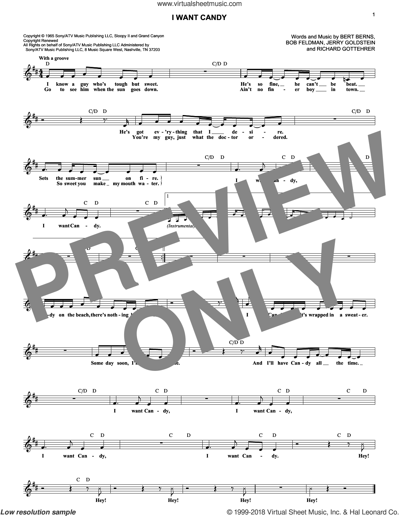 I Want Candy sheet music for voice and other instruments (fake book) by Bow Wow Wow, intermediate skill level
