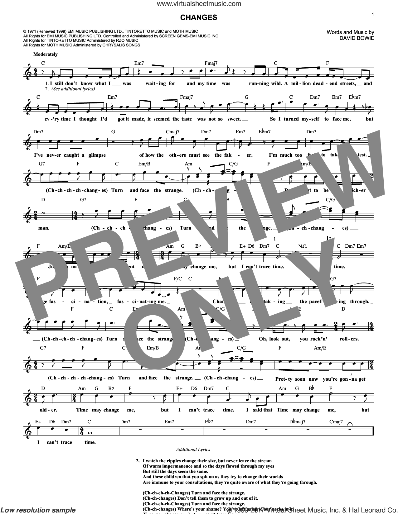 Changes sheet music for voice and other instruments (fake book) by David Bowie. Score Image Preview.