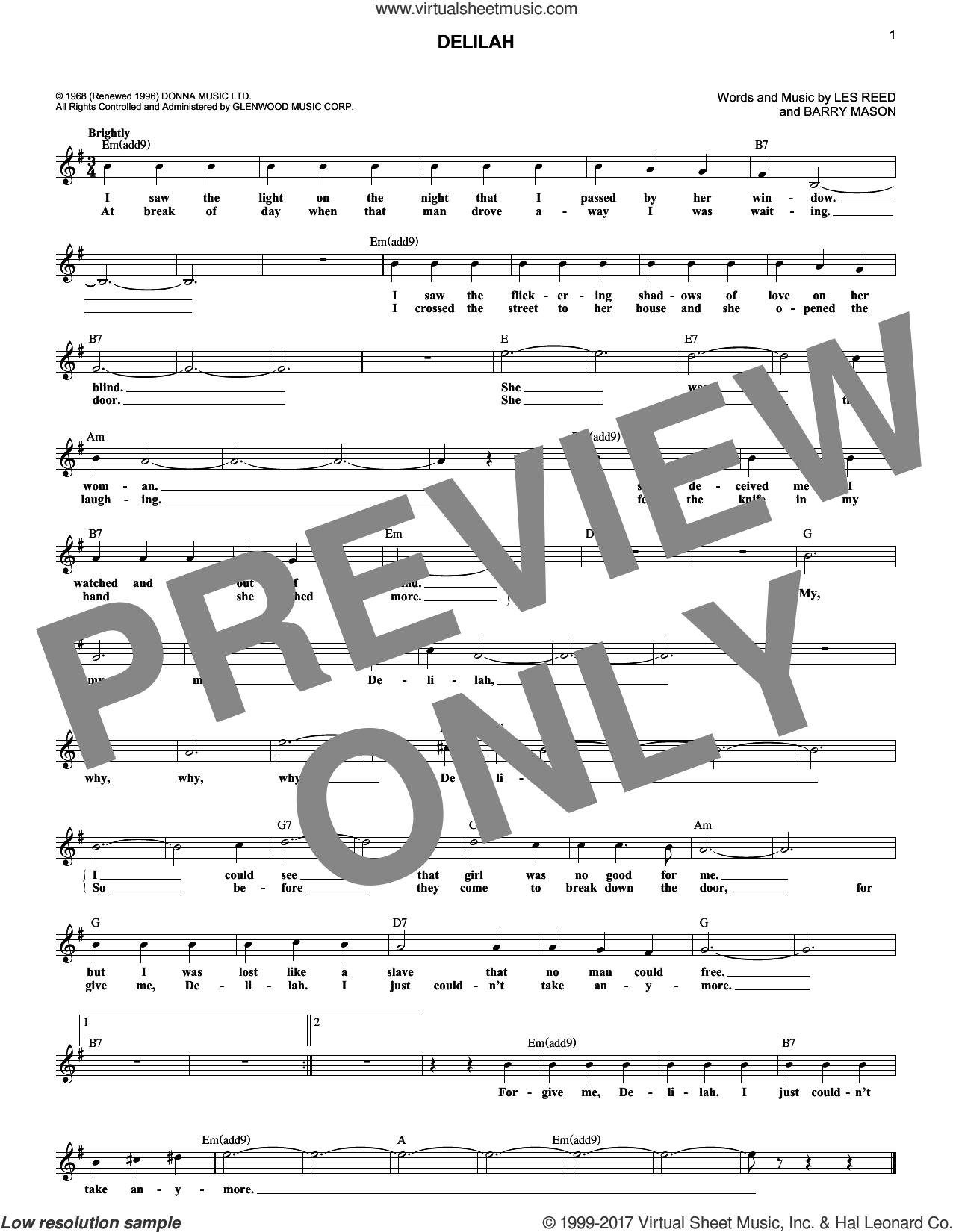 Delilah sheet music for voice and other instruments (fake book) by Tom Jones, Barry Mason and Les Reed, intermediate skill level