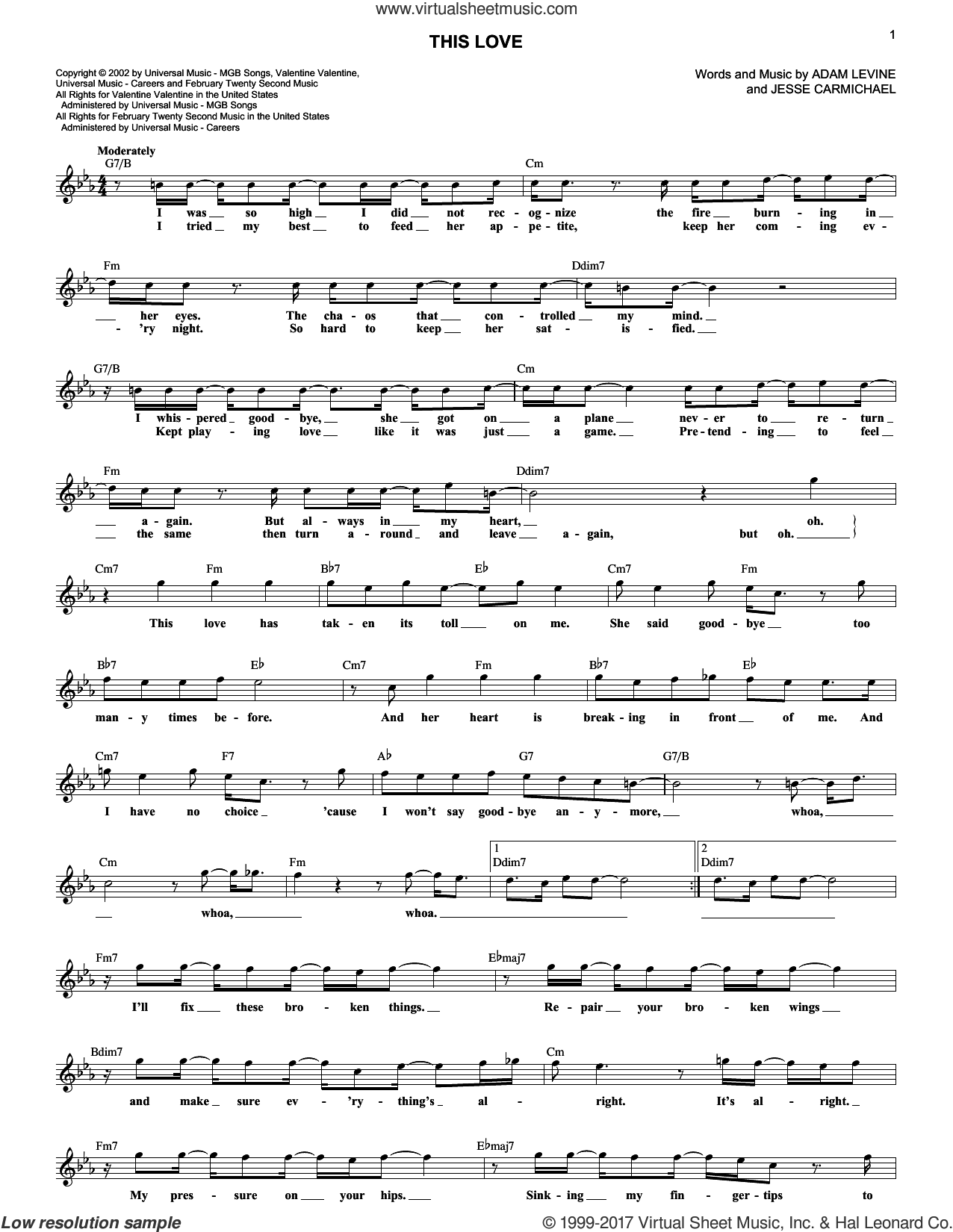 This Love sheet music for voice and other instruments (fake book) by Maroon 5, Adam Levine and Jesse Carmichael, intermediate