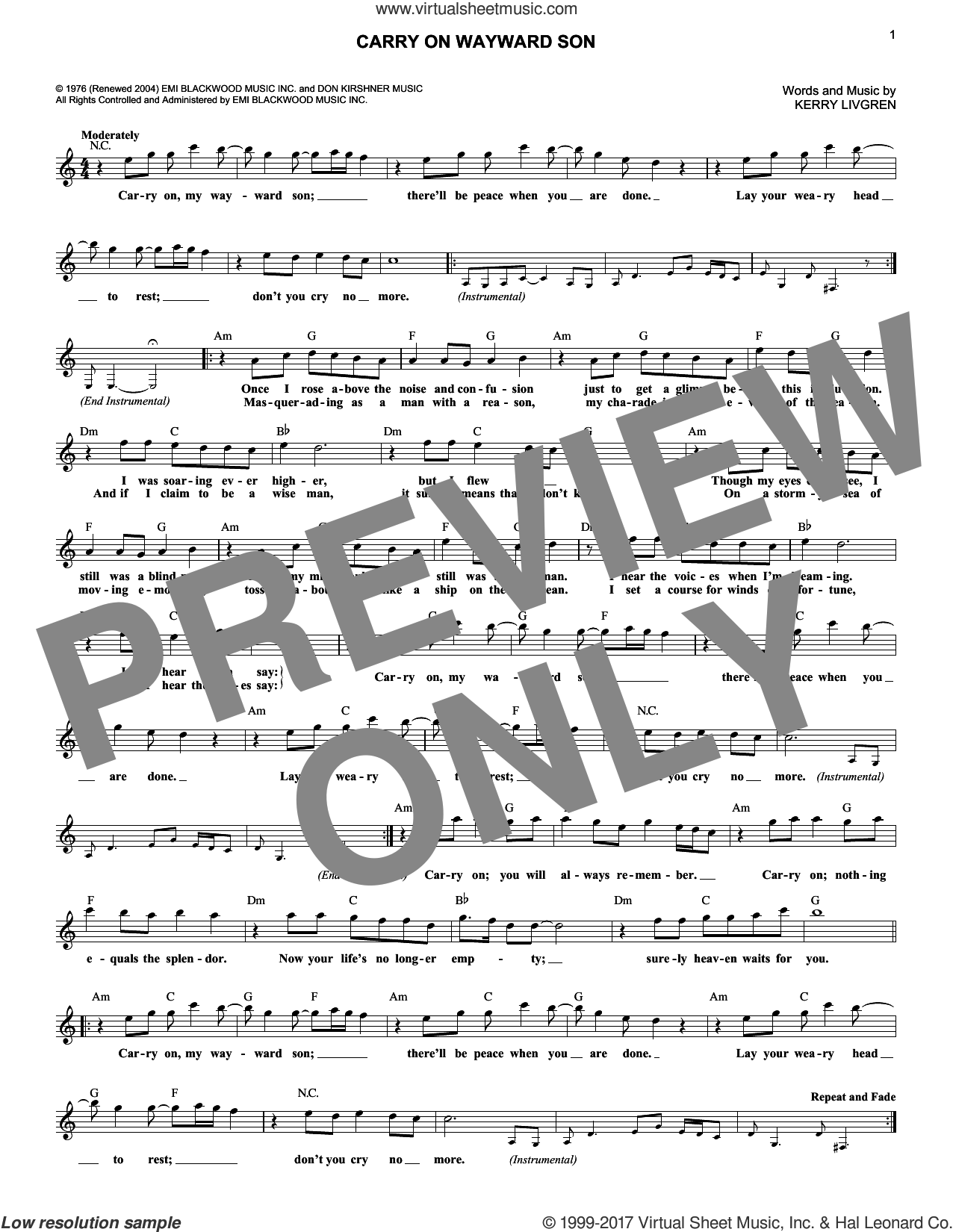 Carry On Wayward Son sheet music for voice and other instruments (fake book) by Kansas, intermediate. Score Image Preview.