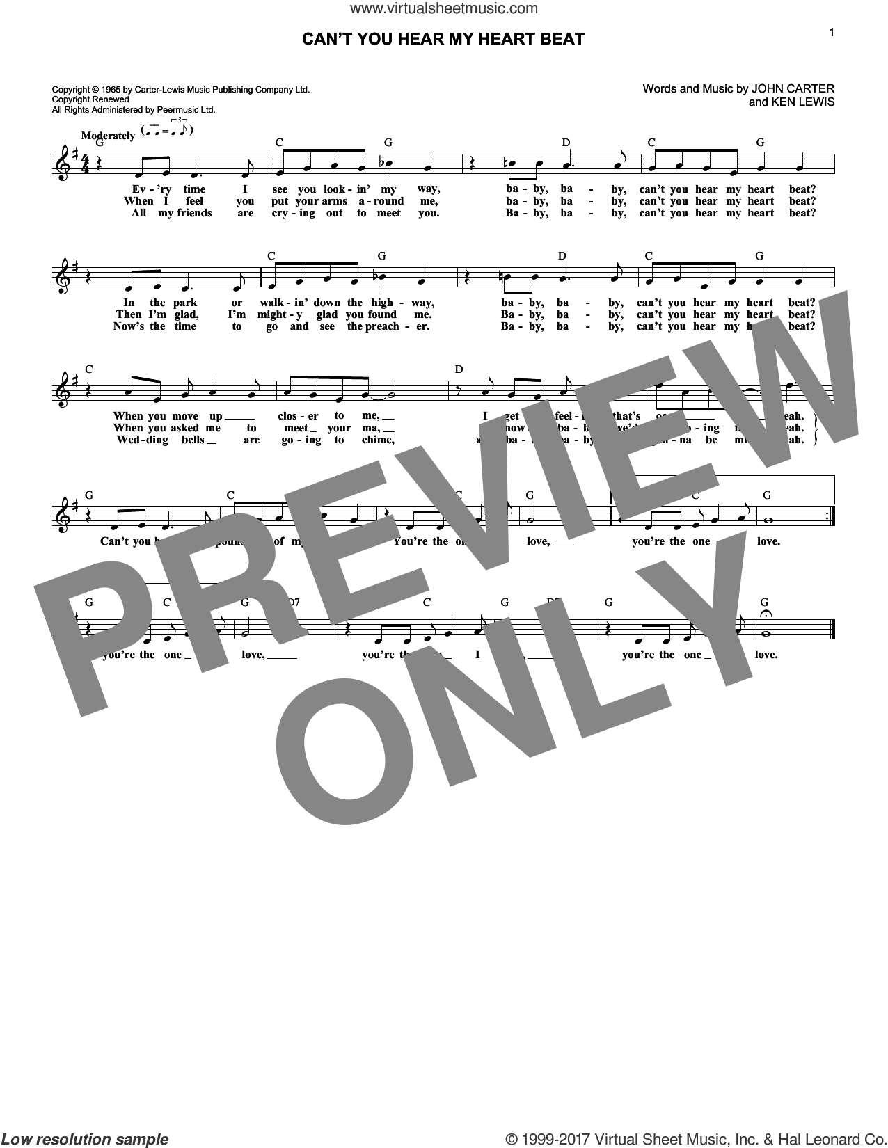 Can't You Hear My Heart Beat sheet music for voice and other instruments (fake book) by Herman's Hermits and John Carter. Score Image Preview.