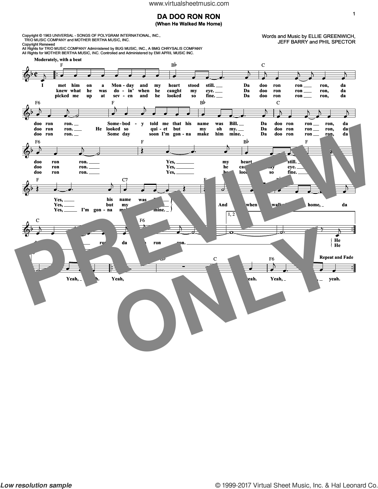 Da Doo Ron Ron (When He Walked Me Home) sheet music for voice and other instruments (fake book) by Phil Spector, The Crystals, Ellie Greenwich and Jeff Barry. Score Image Preview.