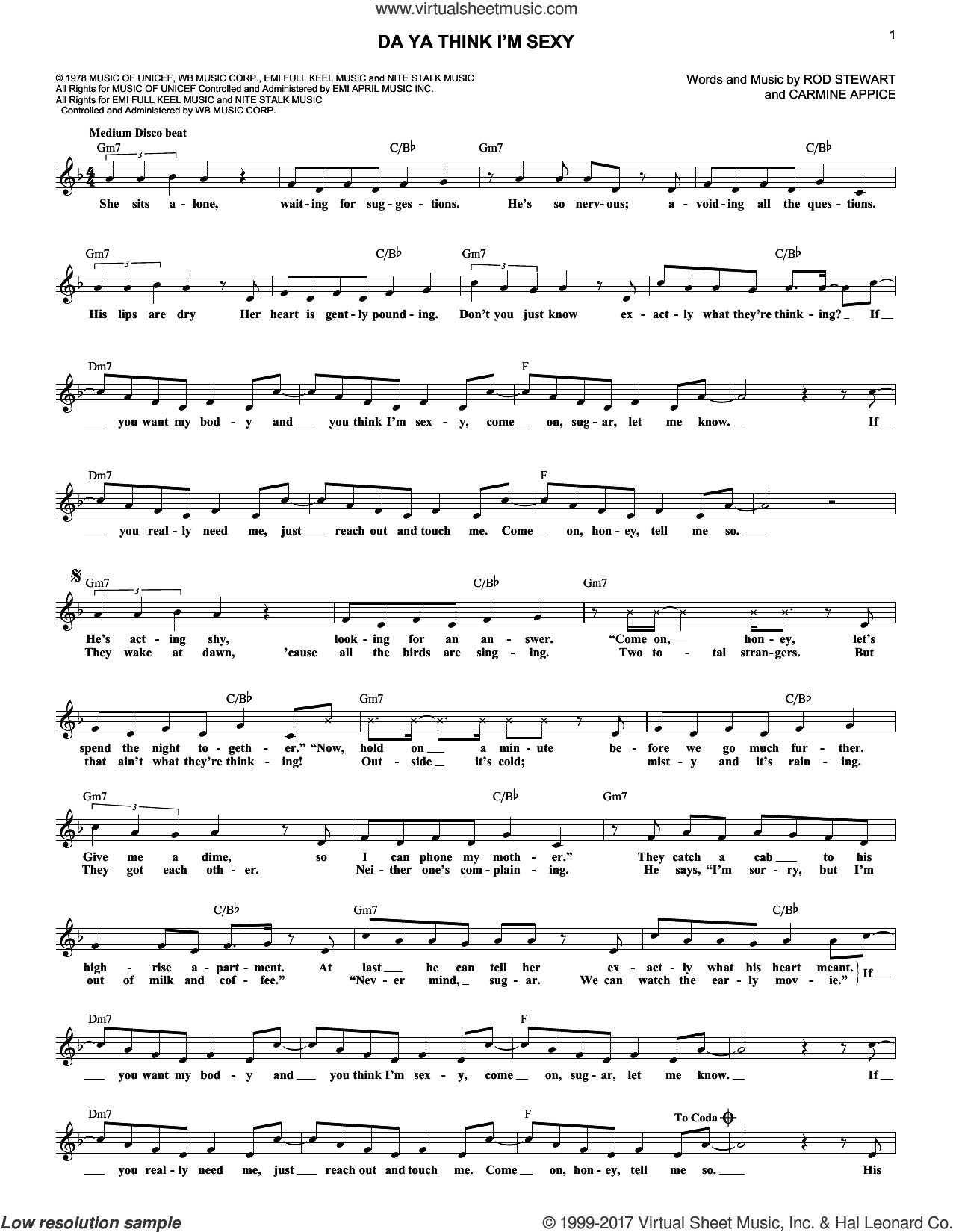 Da Ya Think I'm Sexy sheet music for voice and other instruments (fake book) by Rod Stewart and Carmine Appice, intermediate skill level