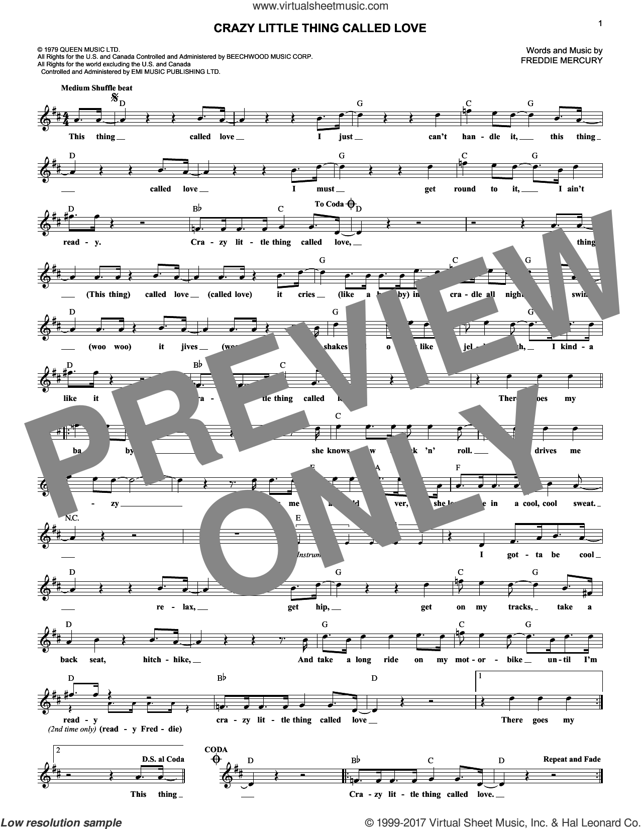 Crazy Little Thing Called Love sheet music for voice and other instruments (fake book) by Queen, Dwight Yoakam and Freddie Mercury, intermediate skill level