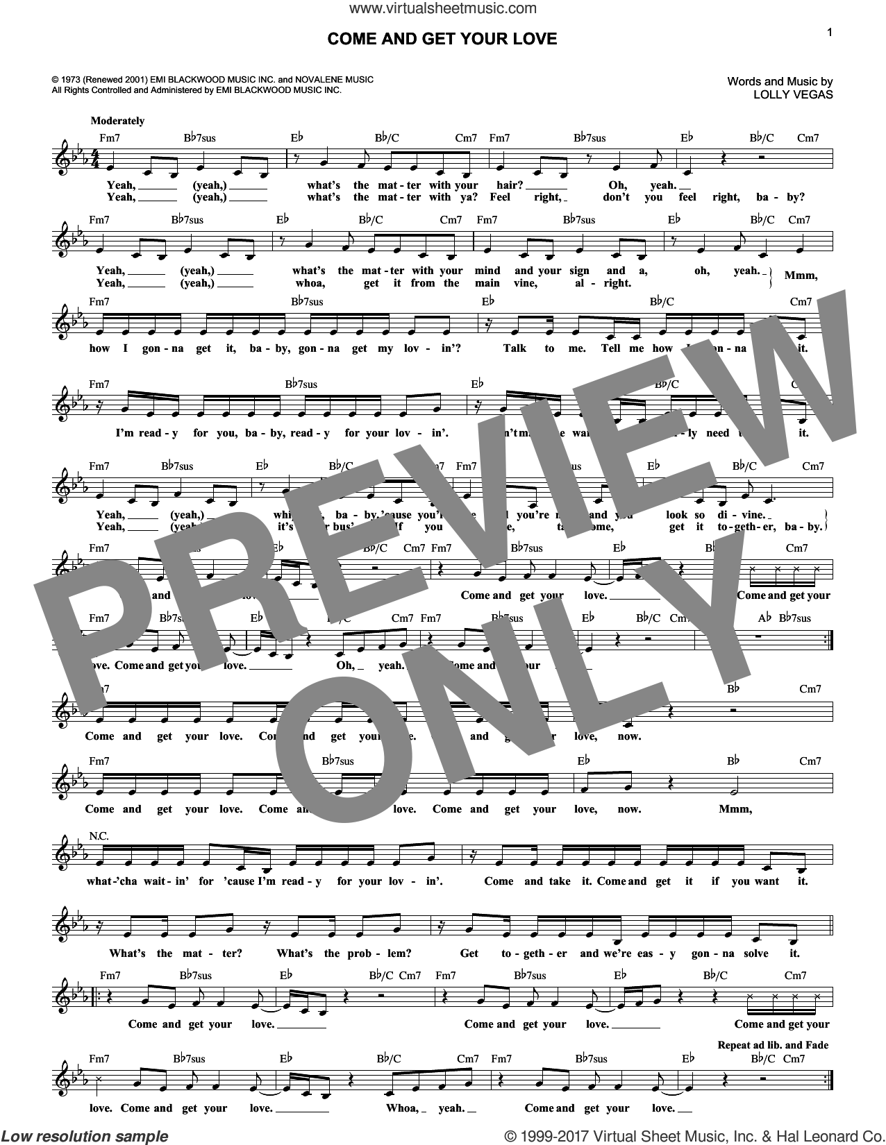 Come And Get Your Love sheet music for voice and other instruments (fake book) by Redbone, Real McCoy and Lolly Vegas, intermediate skill level