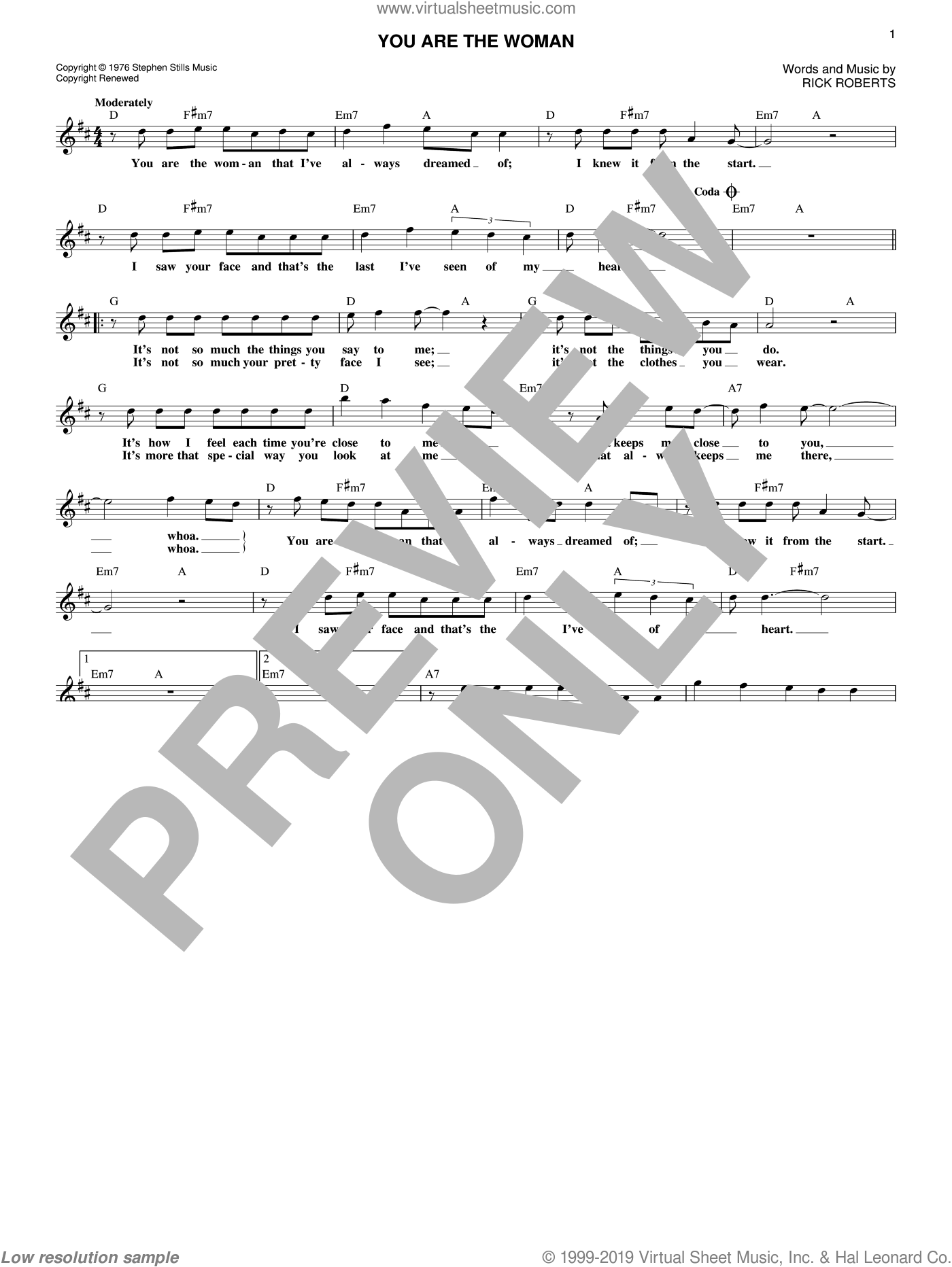 You Are The Woman sheet music for voice and other instruments (fake book) by Firefall and Rick Roberts, intermediate skill level