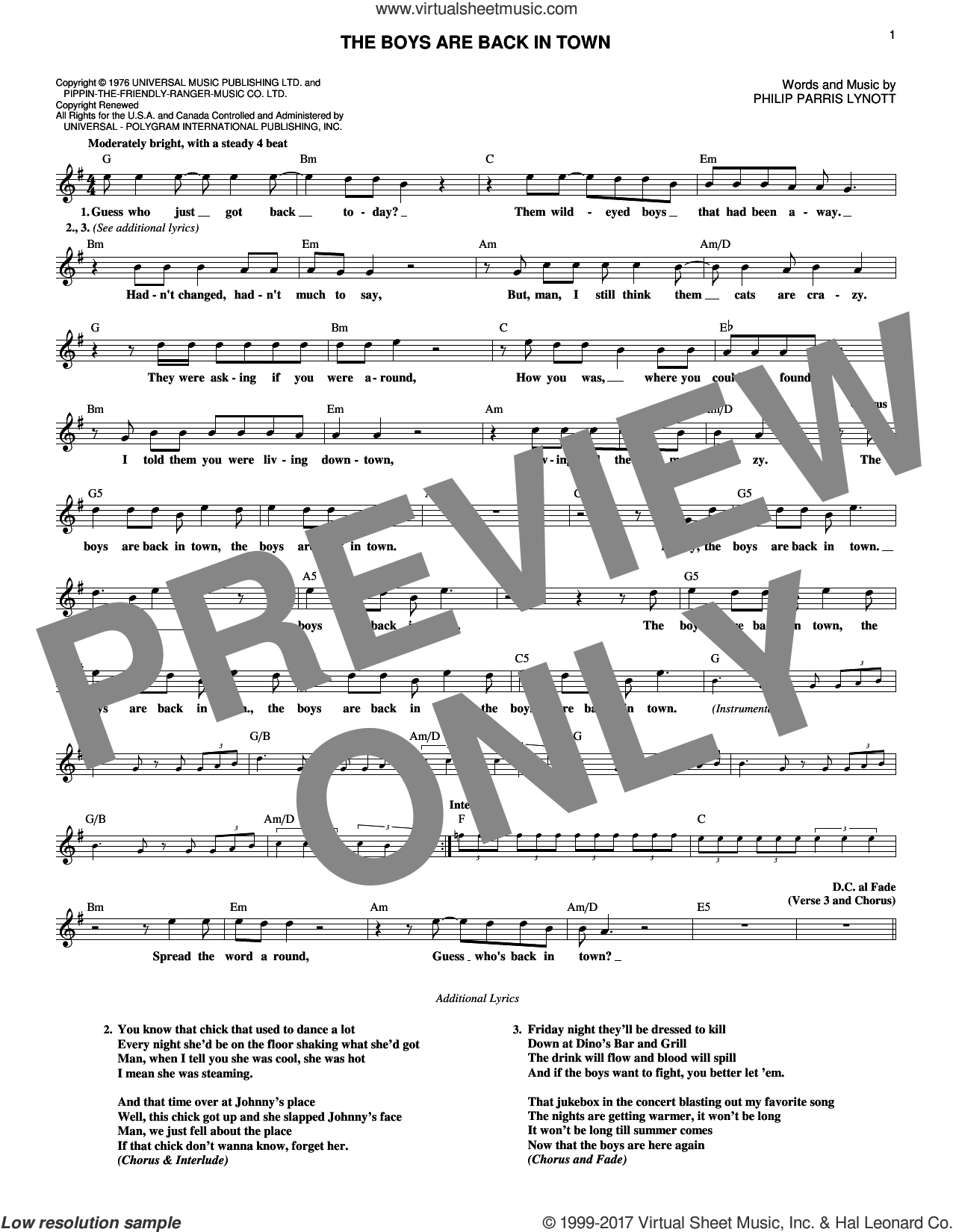 The Boys Are Back In Town sheet music for voice and other instruments (fake book) by Thin Lizzy and Phil Lynott, intermediate