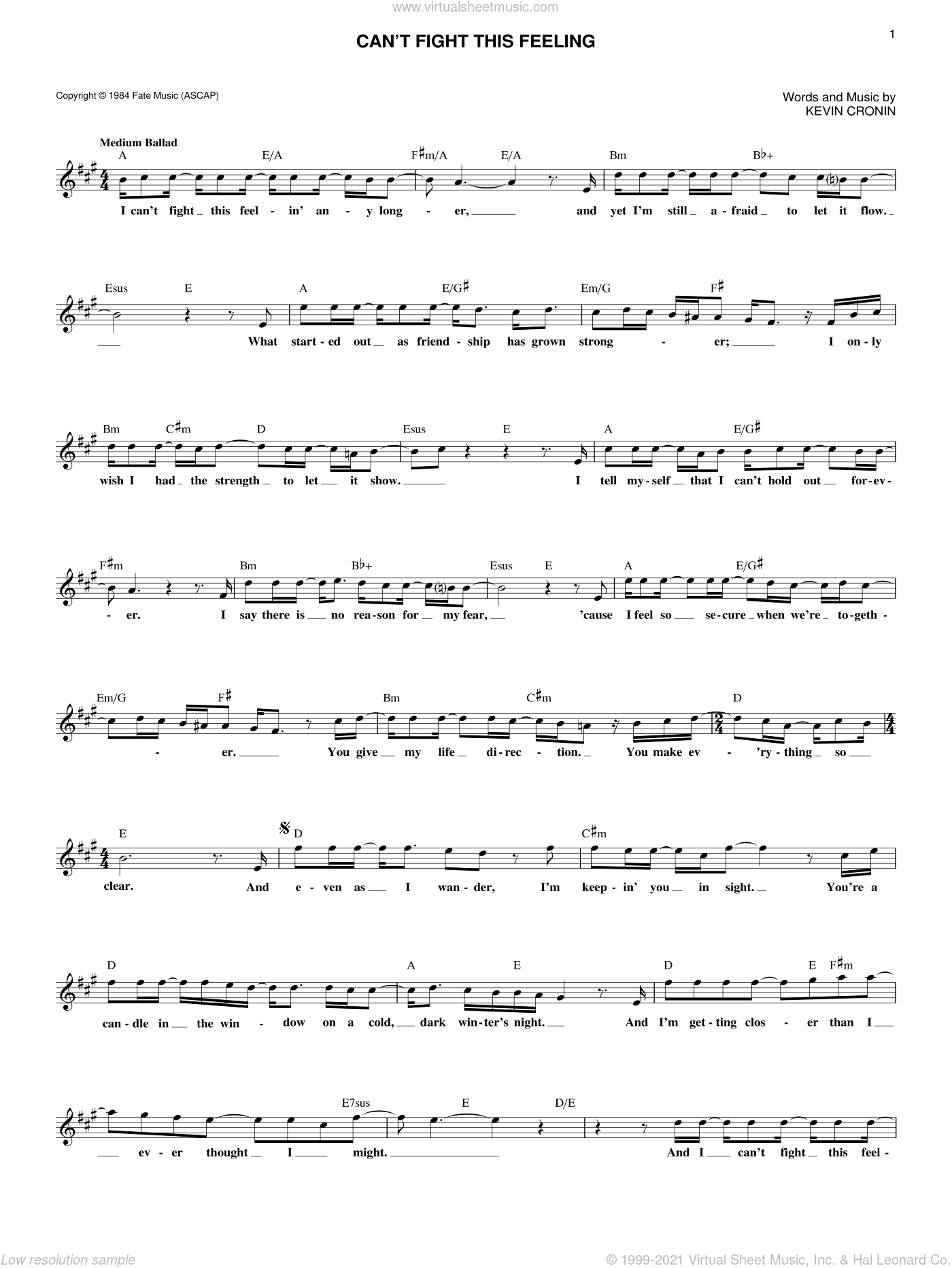 Can't Fight This Feeling sheet music for voice and other instruments (fake book) by Kevin Cronin and REO Speedwagon, intermediate skill level