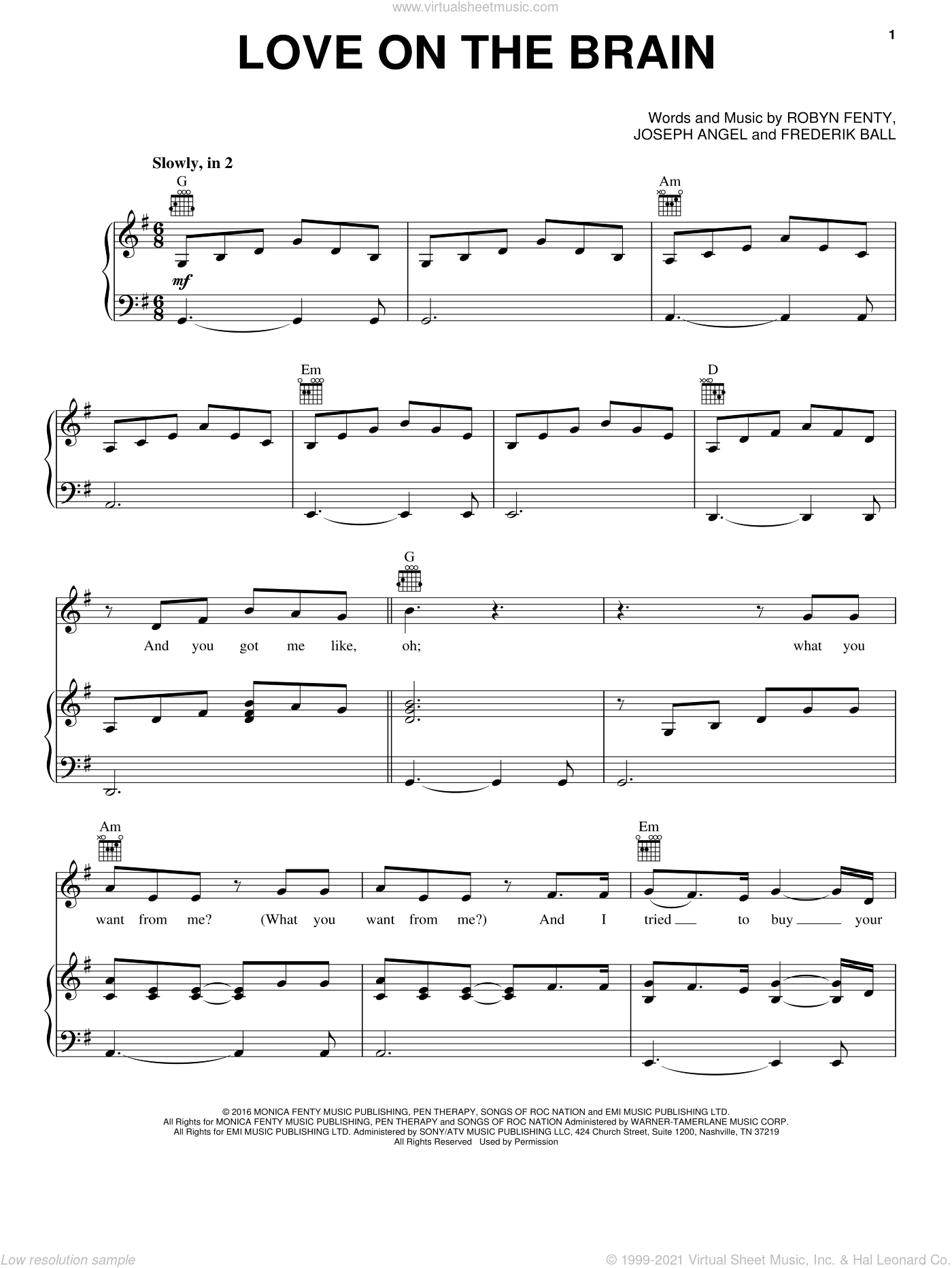 Love On The Brain sheet music for voice, piano or guitar by Rihanna, Frederik Ball, Joseph Angel and Robyn Fenty, intermediate