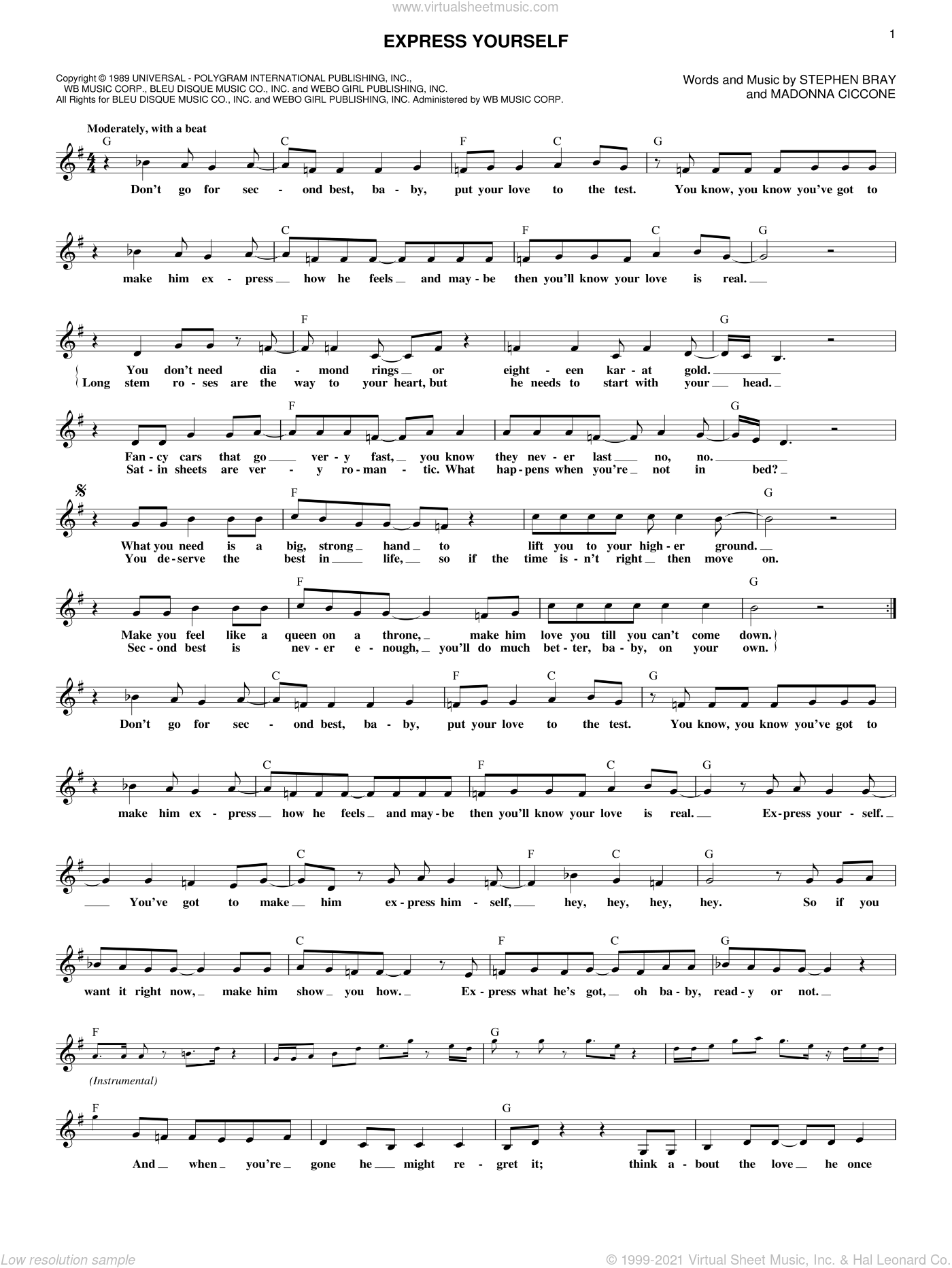Express Yourself sheet music for voice and other instruments (fake book) by Madonna and Stephen Bray, intermediate skill level