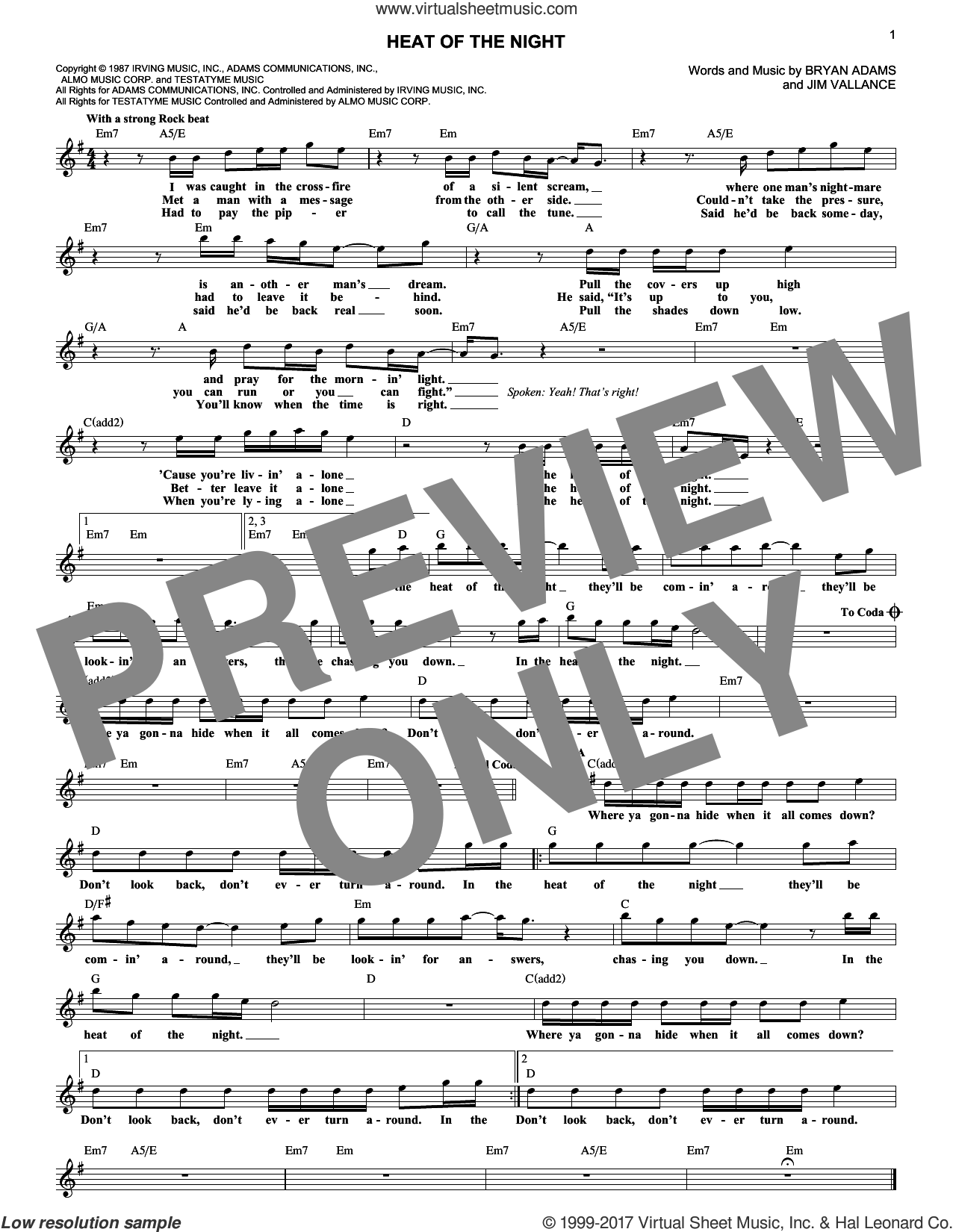 Heat Of The Night sheet music for voice and other instruments (fake book) by Jim Vallance and Bryan Adams. Score Image Preview.