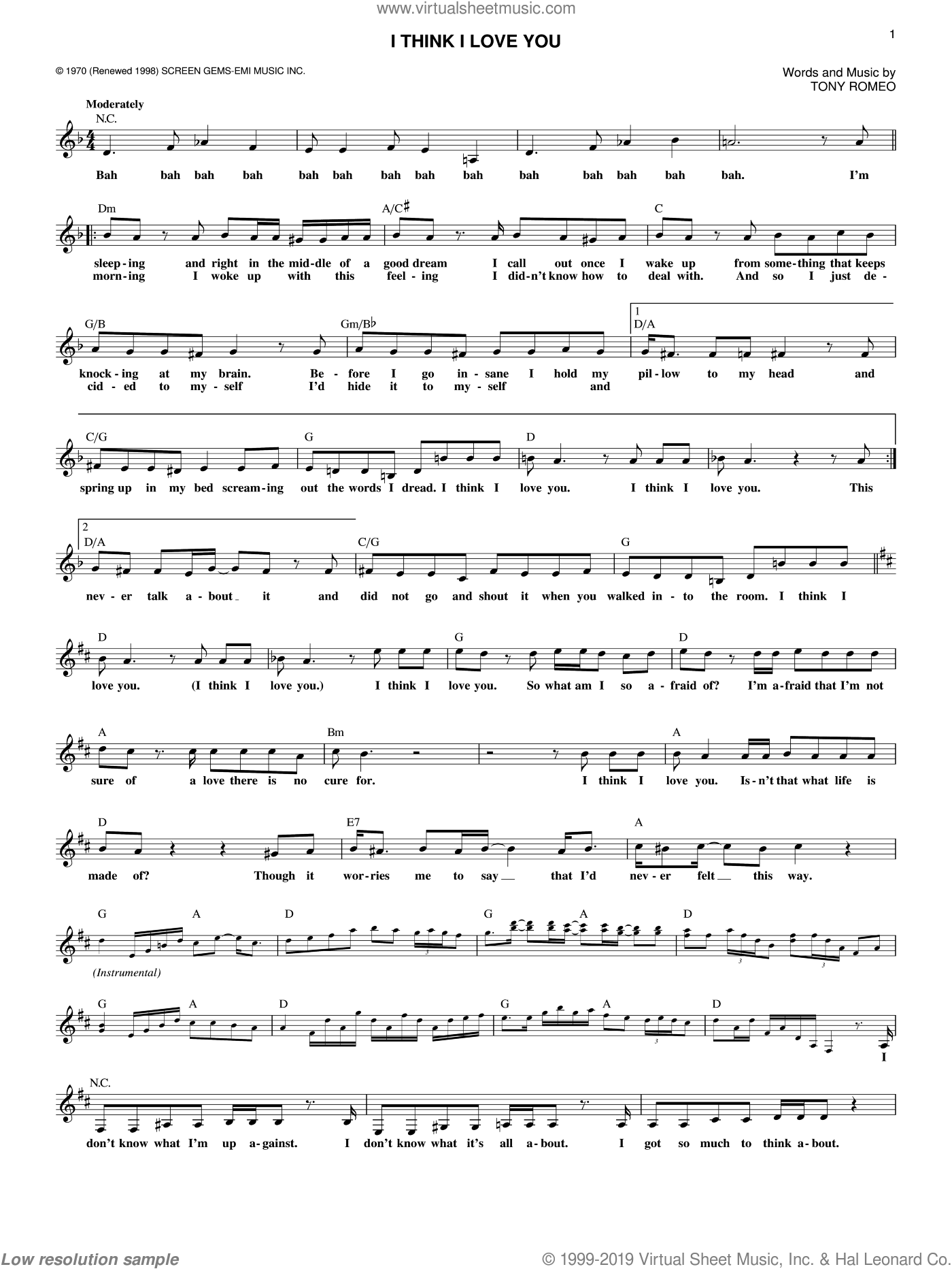 I Think I Love You sheet music for voice and other instruments (fake book) by The Partridge Family and Tony Romeo, intermediate skill level