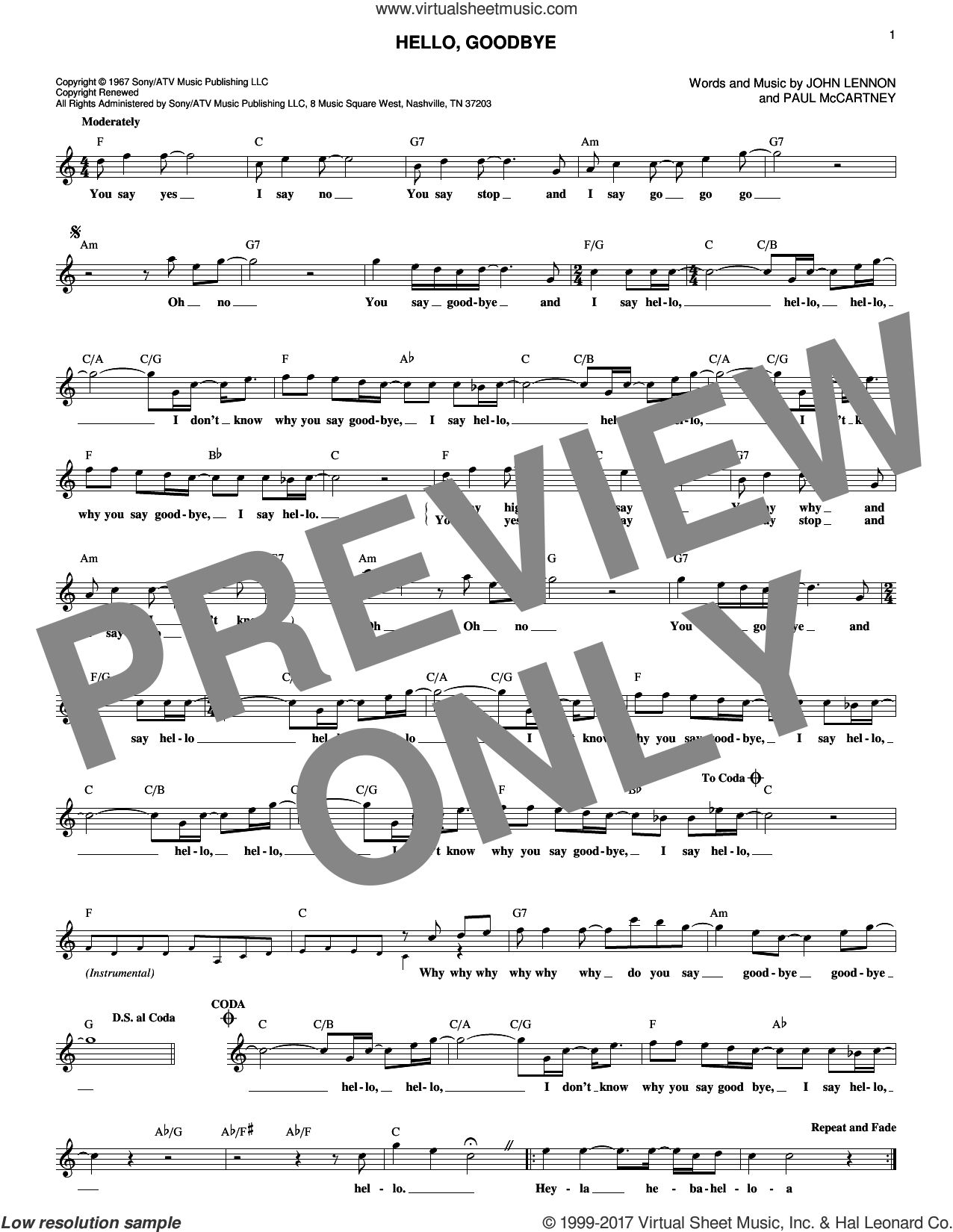 Hello, Goodbye sheet music for voice and other instruments (fake book) by The Beatles, John Lennon and Paul McCartney, intermediate. Score Image Preview.