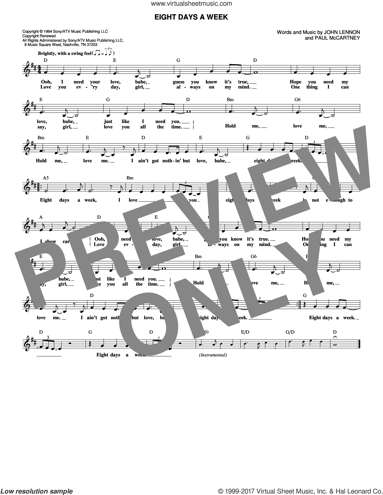 Eight Days A Week sheet music for voice and other instruments (fake book) by The Beatles, John Lennon and Paul McCartney, intermediate. Score Image Preview.