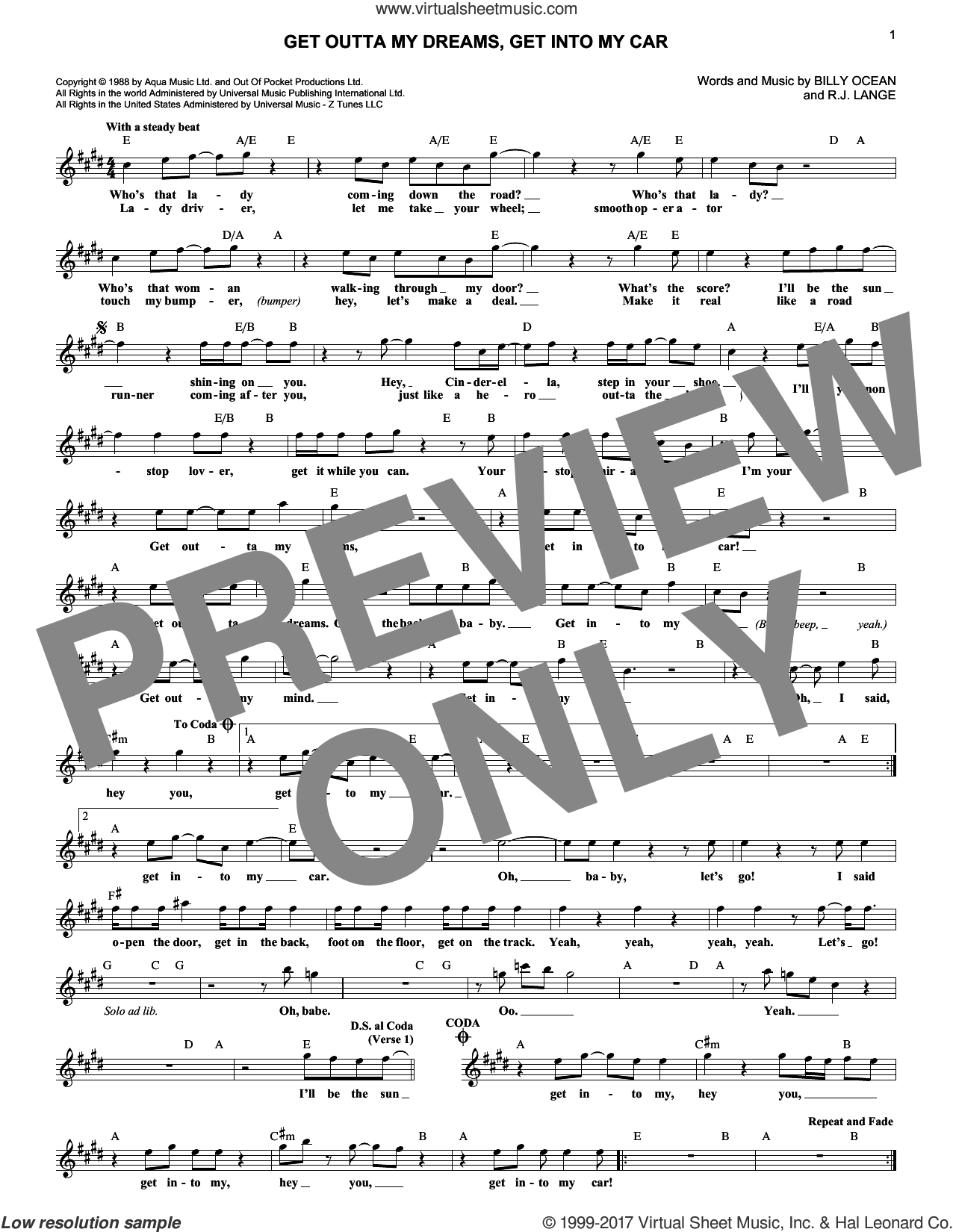 Get Outta My Dreams, Get Into My Car sheet music for voice and other instruments (fake book) by Billy Ocean and Robert John Lange, intermediate skill level