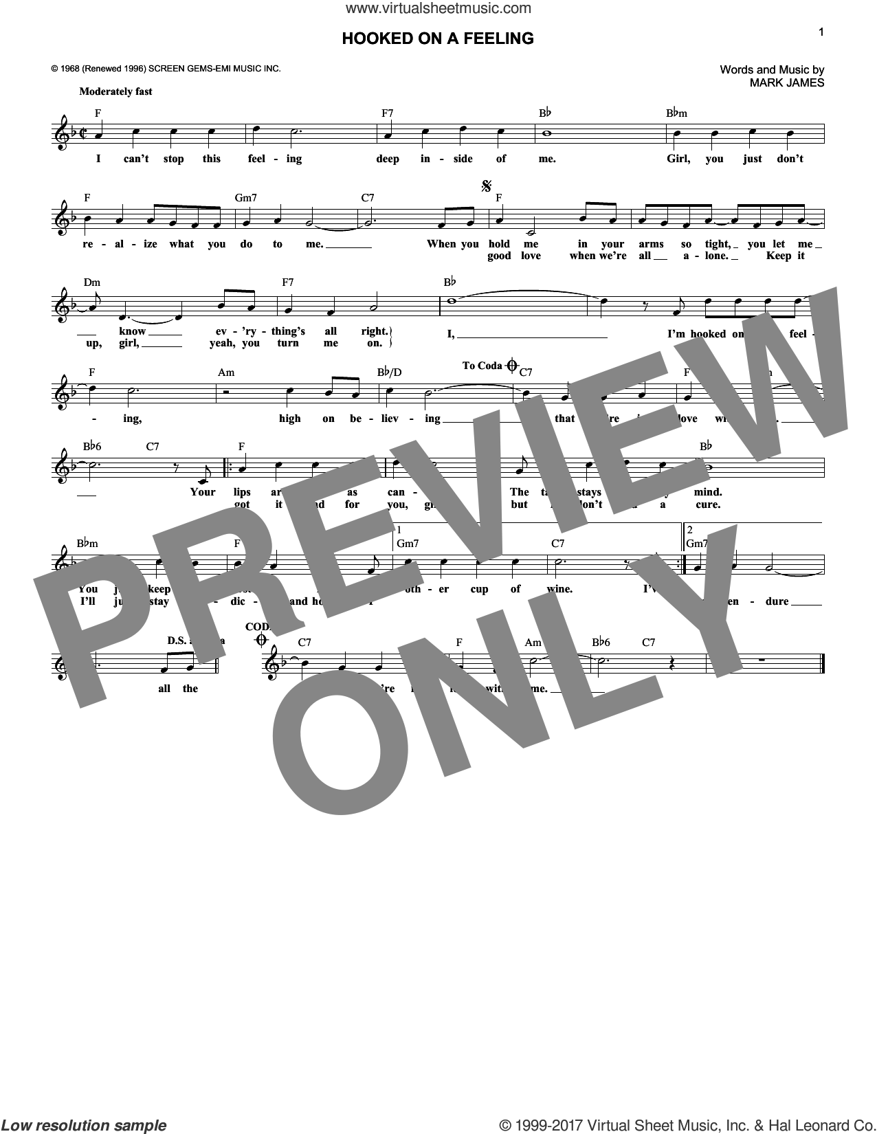 Hooked On A Feeling sheet music for voice and other instruments (fake book) by Mark James and B.J. Thomas. Score Image Preview.
