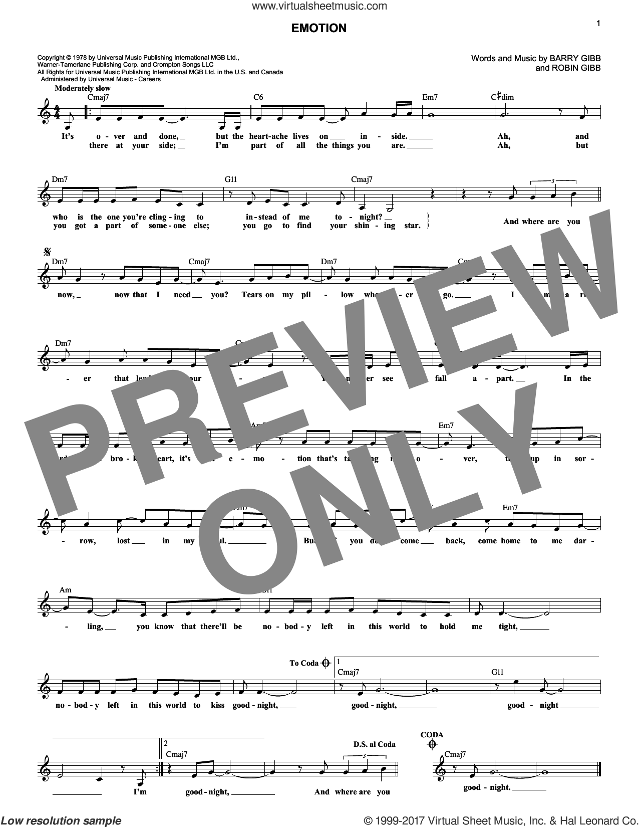 Emotion sheet music for voice and other instruments (fake book) by Destiny's Child, Samantha Sang, Barry Gibb and Robin Gibb, intermediate
