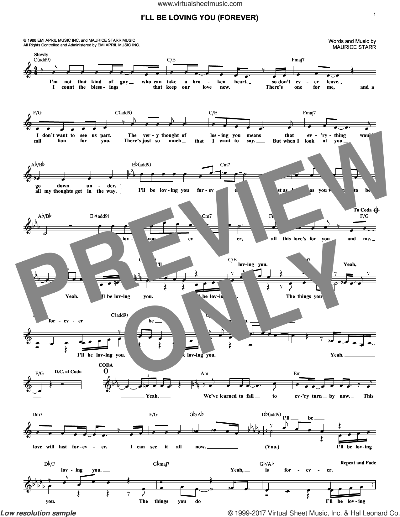 I'll Be Loving You (Forever) sheet music for voice and other instruments (fake book) by New Kids On The Block and Maurice Starr, intermediate skill level